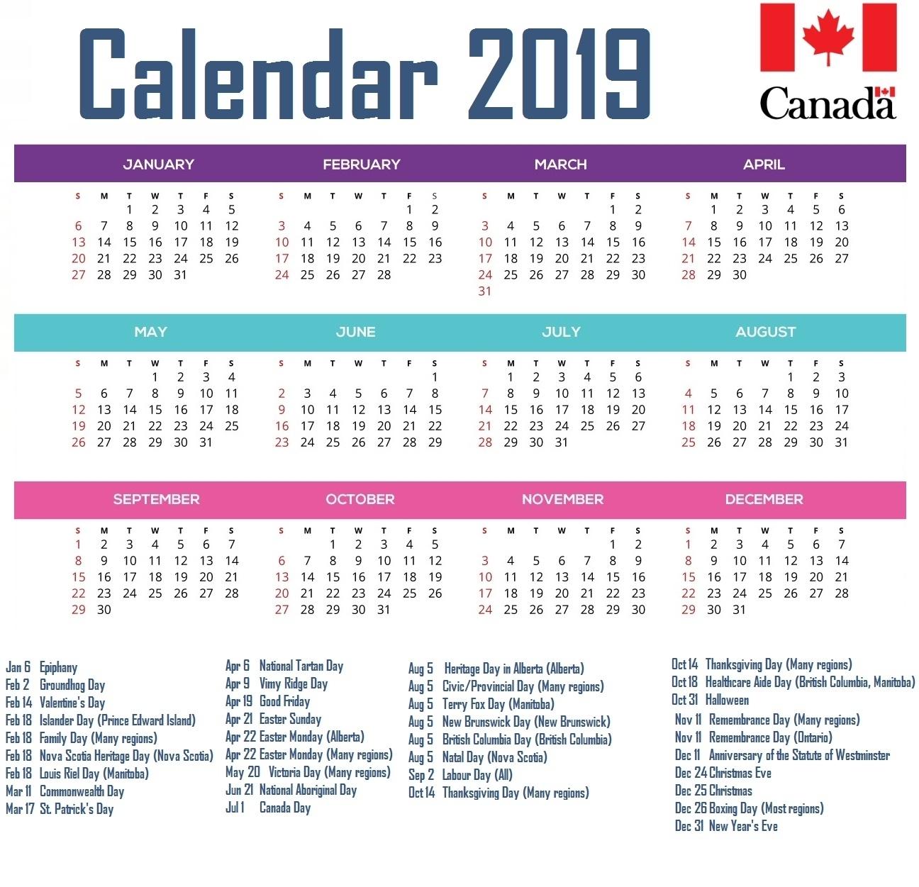February 2019 Calendar Alberta