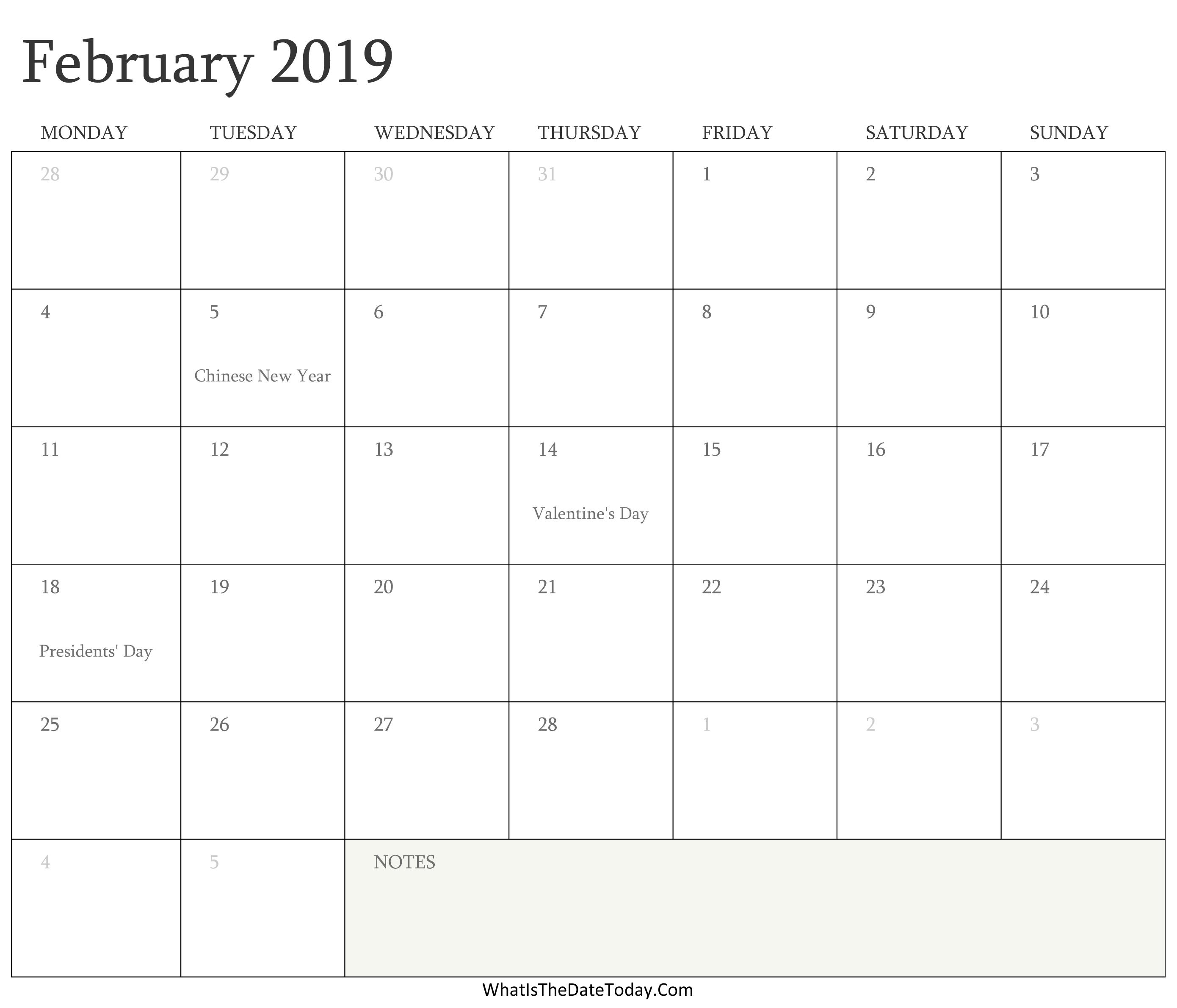 Feb 2019 Holiday Calendar