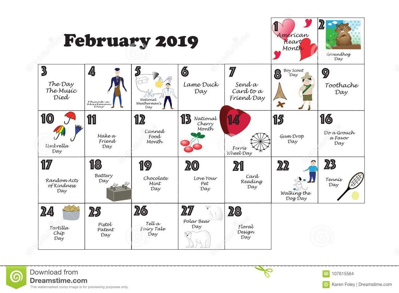 February 2019 Calendar Events