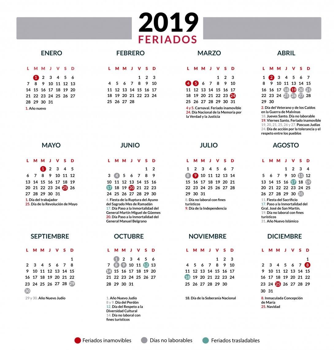 Calendario 2019 Con Feriados Argentina