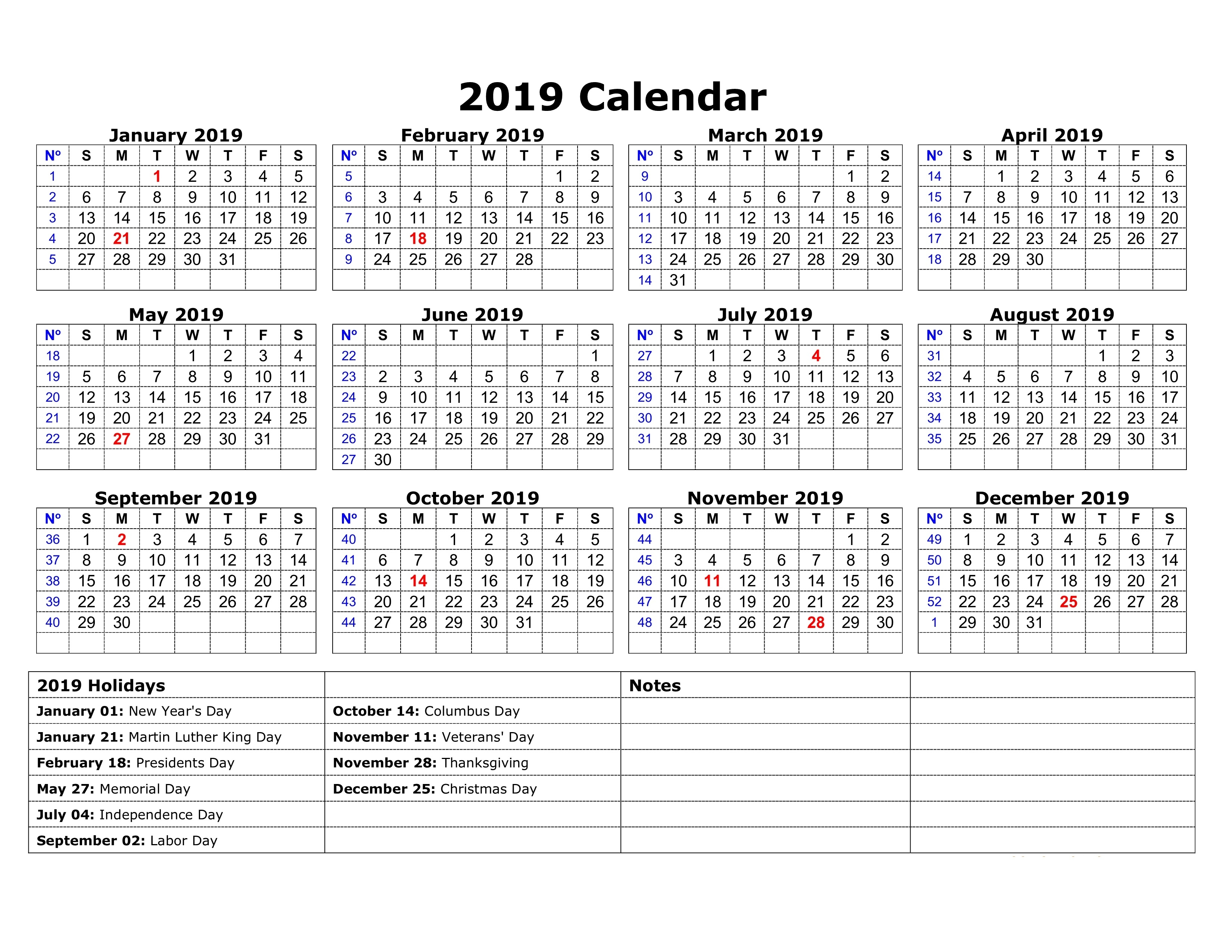 2019 Calendar South Africa With Public Holidays