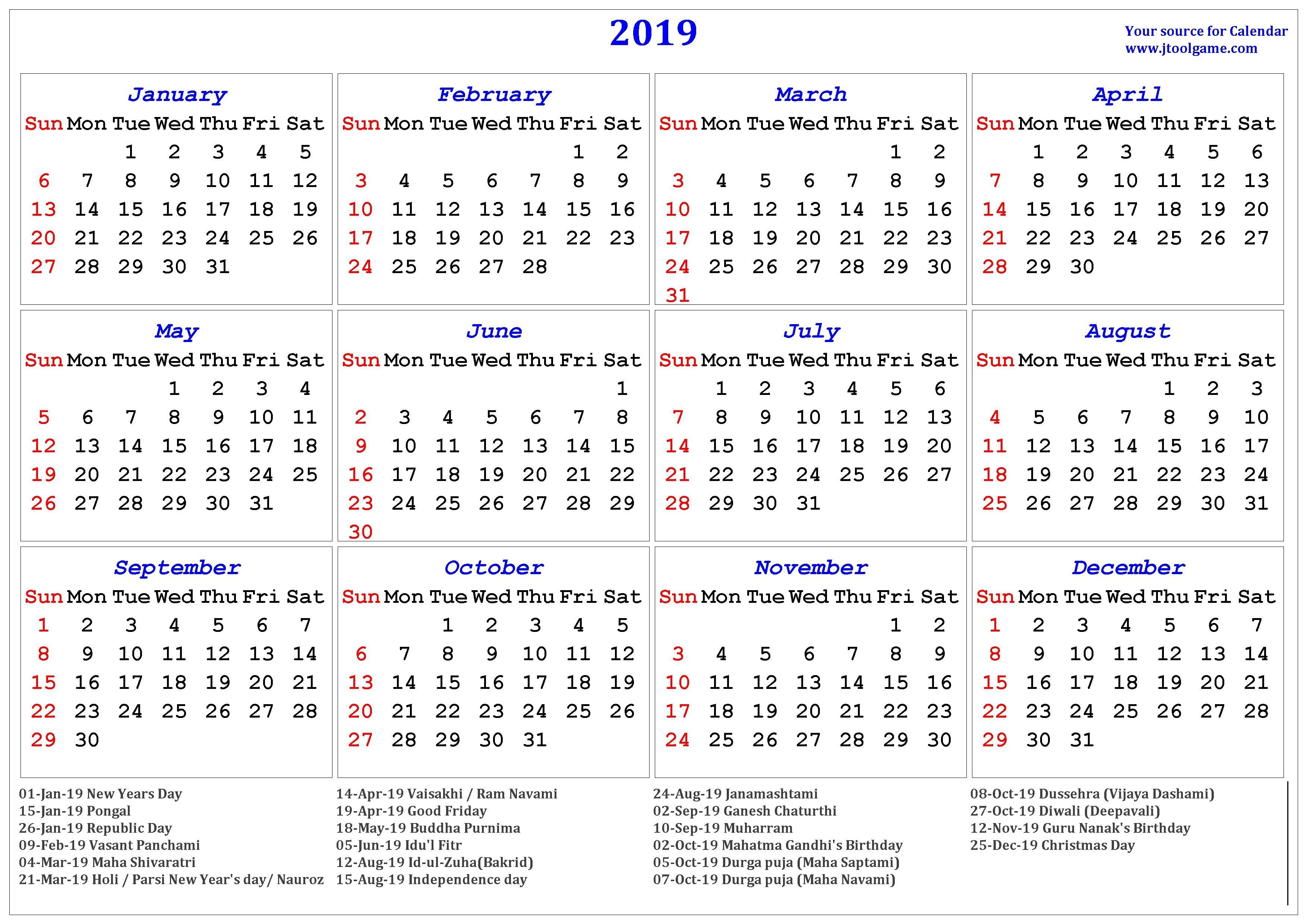 2019 Calendar Holidays India