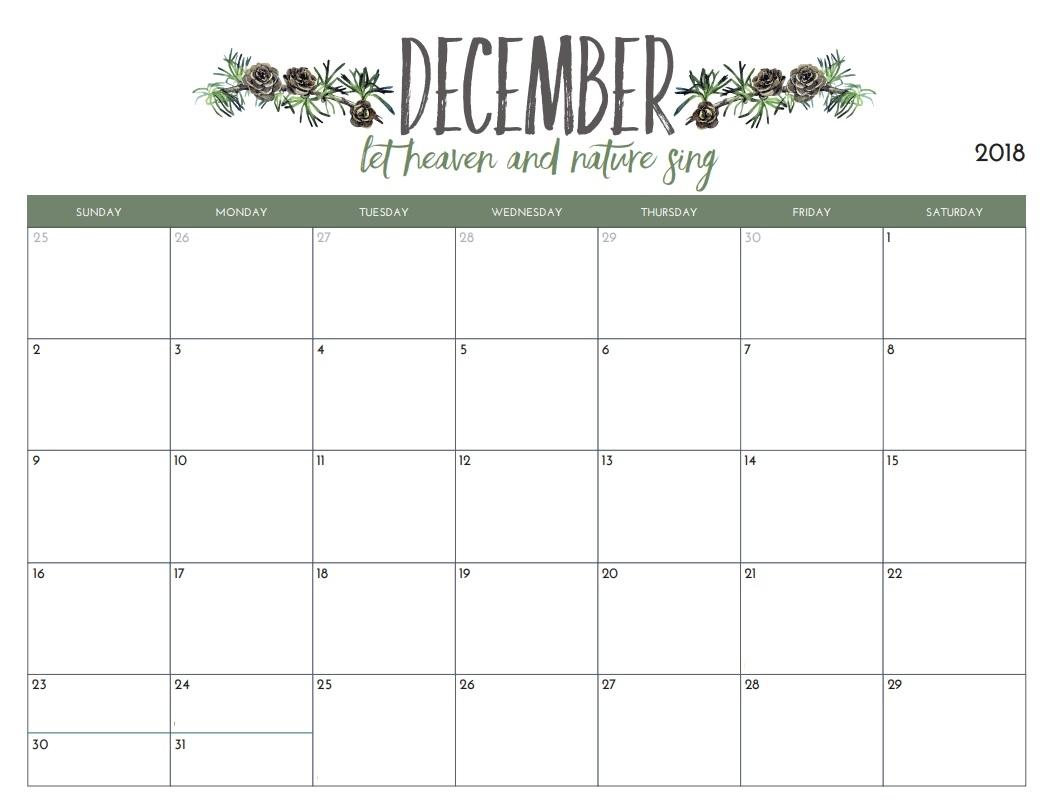 December 2019 Calendar Free Image