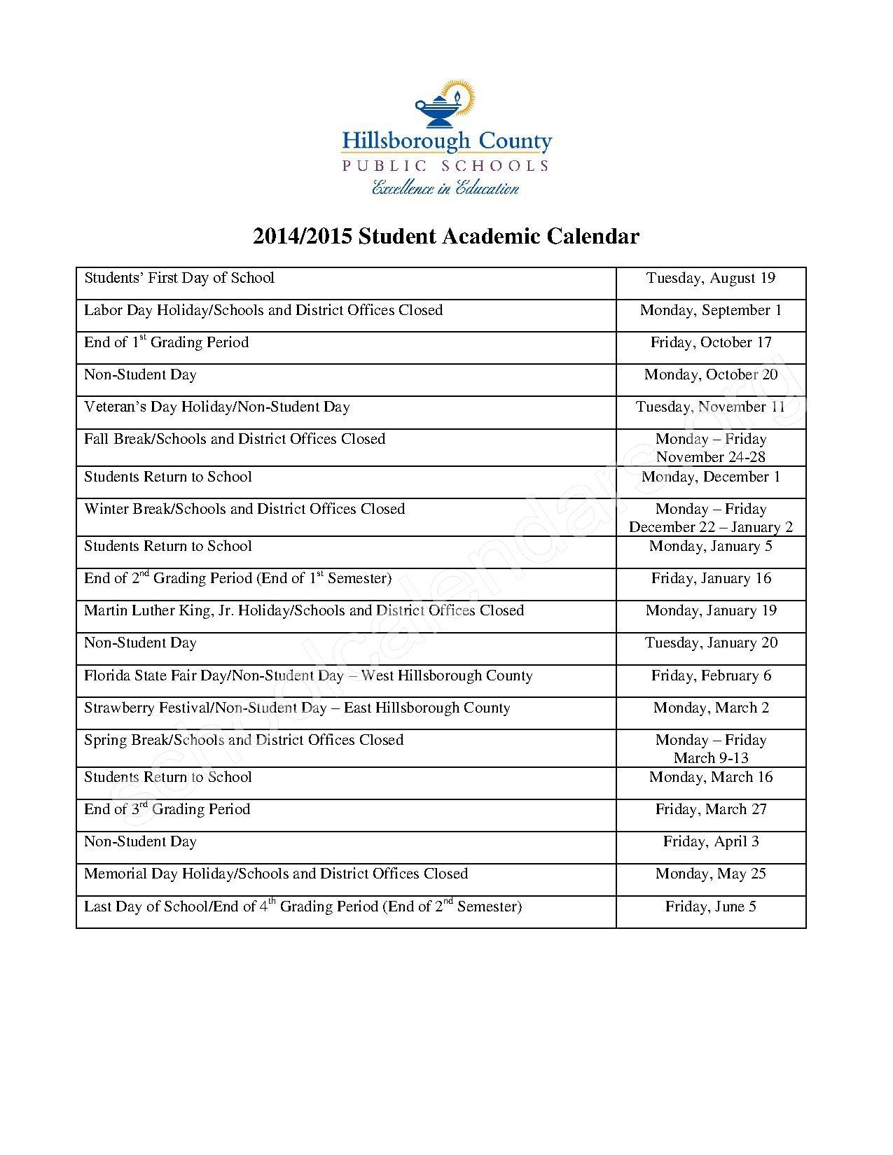 Hillsborough County School Calendar
