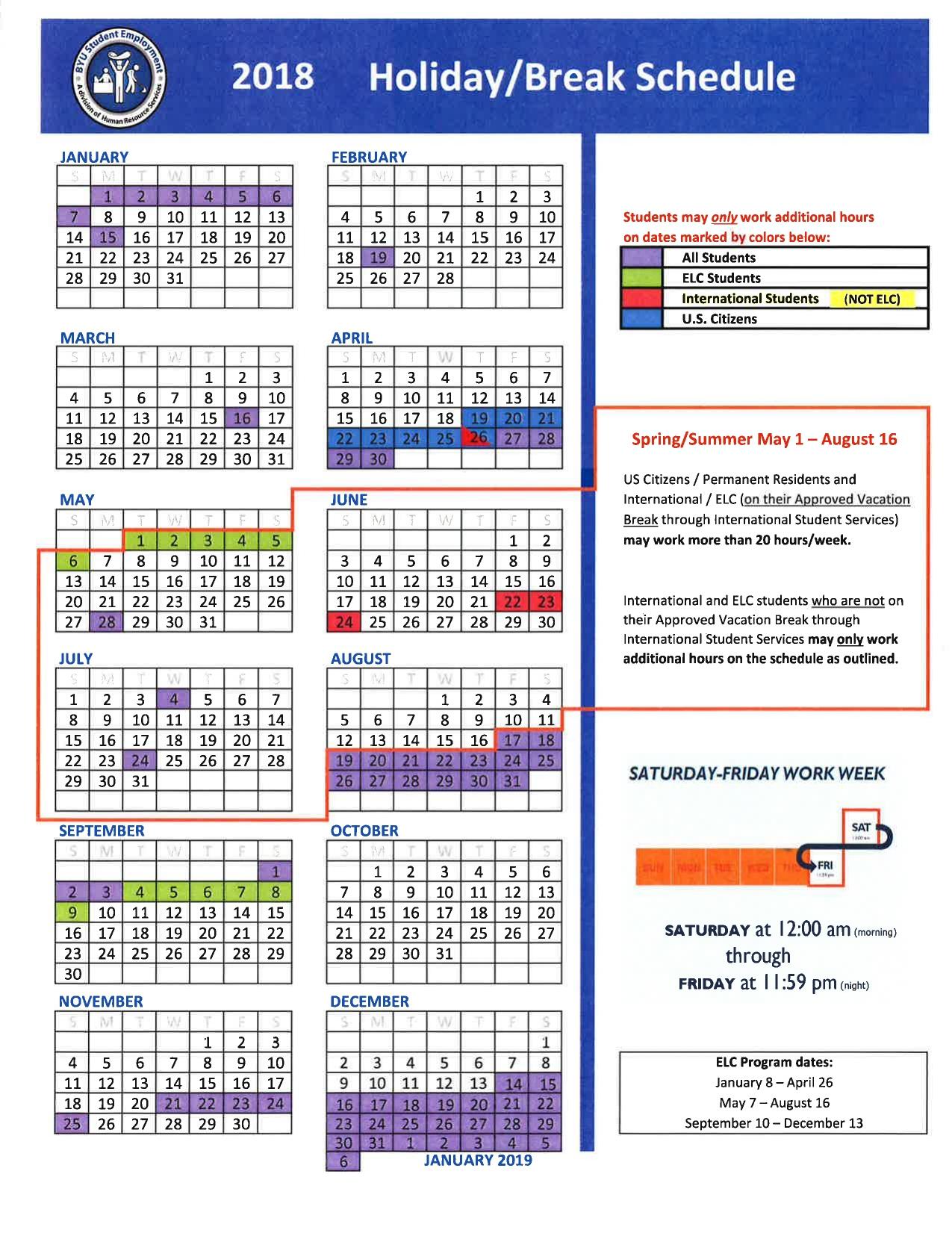 Byu Calendar 2019