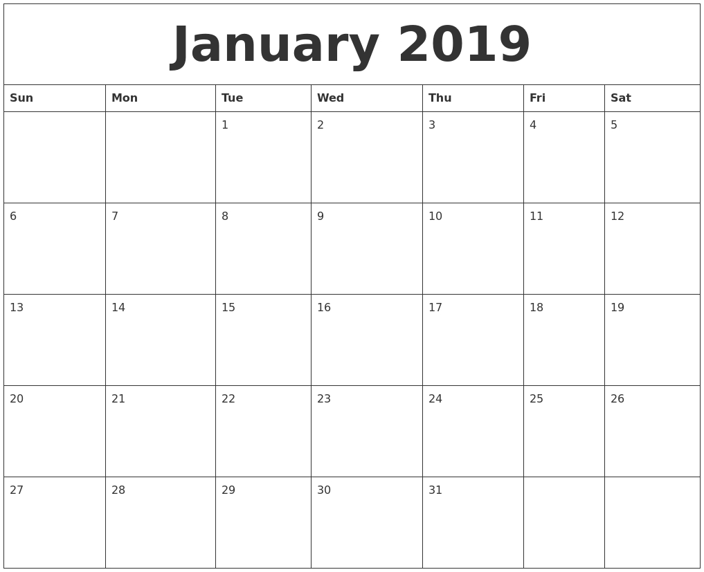 January 2019 Calendar Free Image