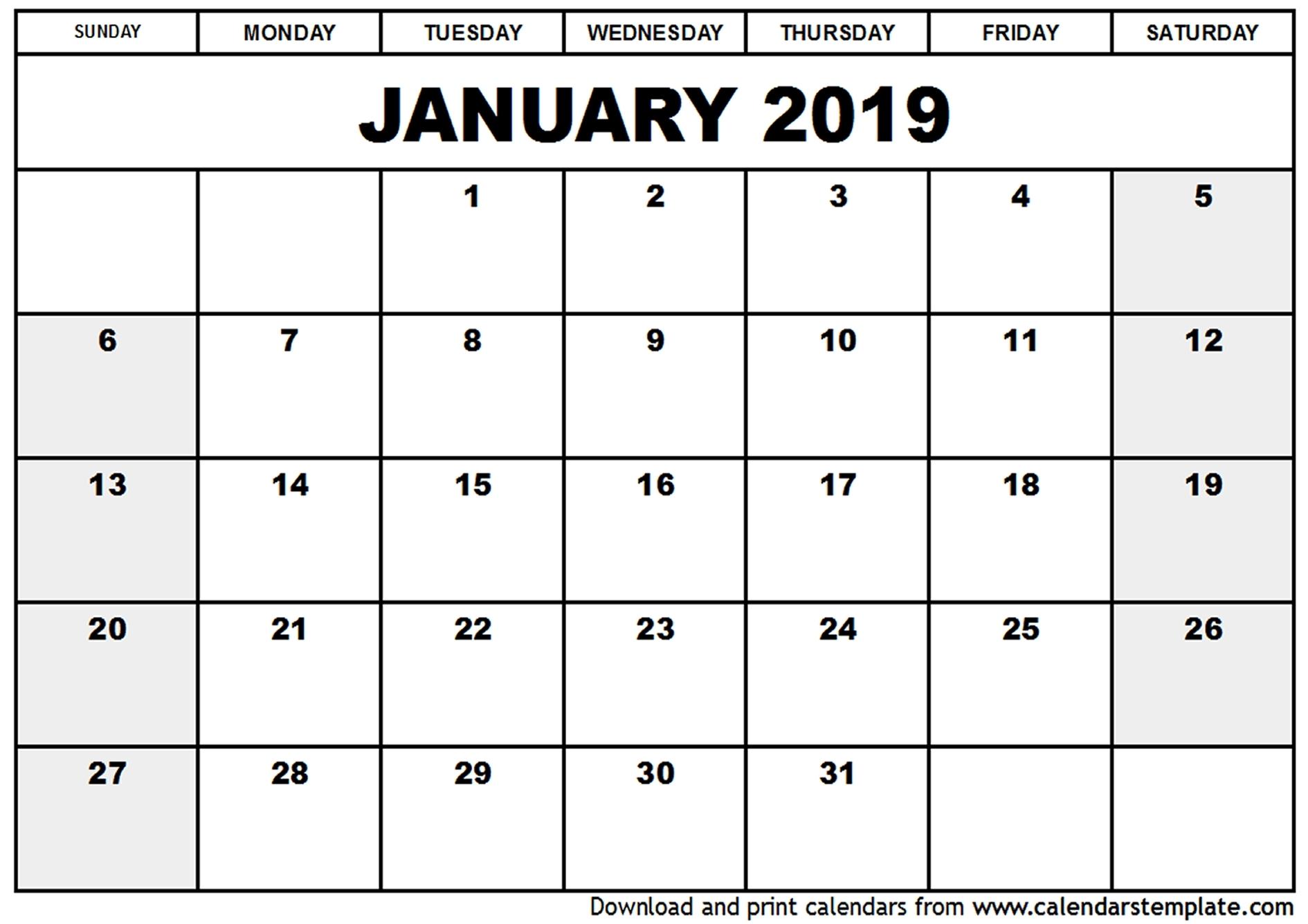 January 2019 Calendar In Excel