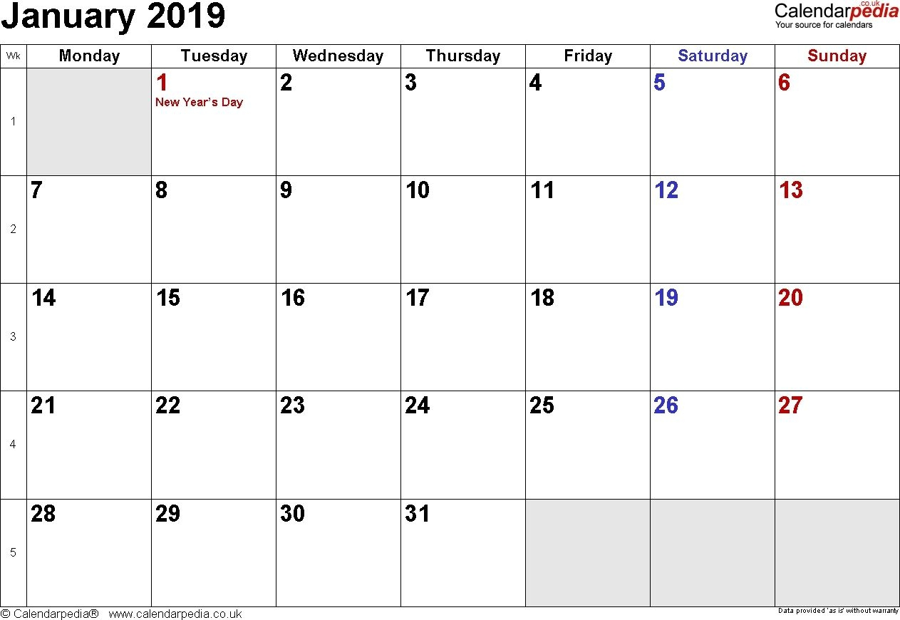 January 2019 Calendar Singapore