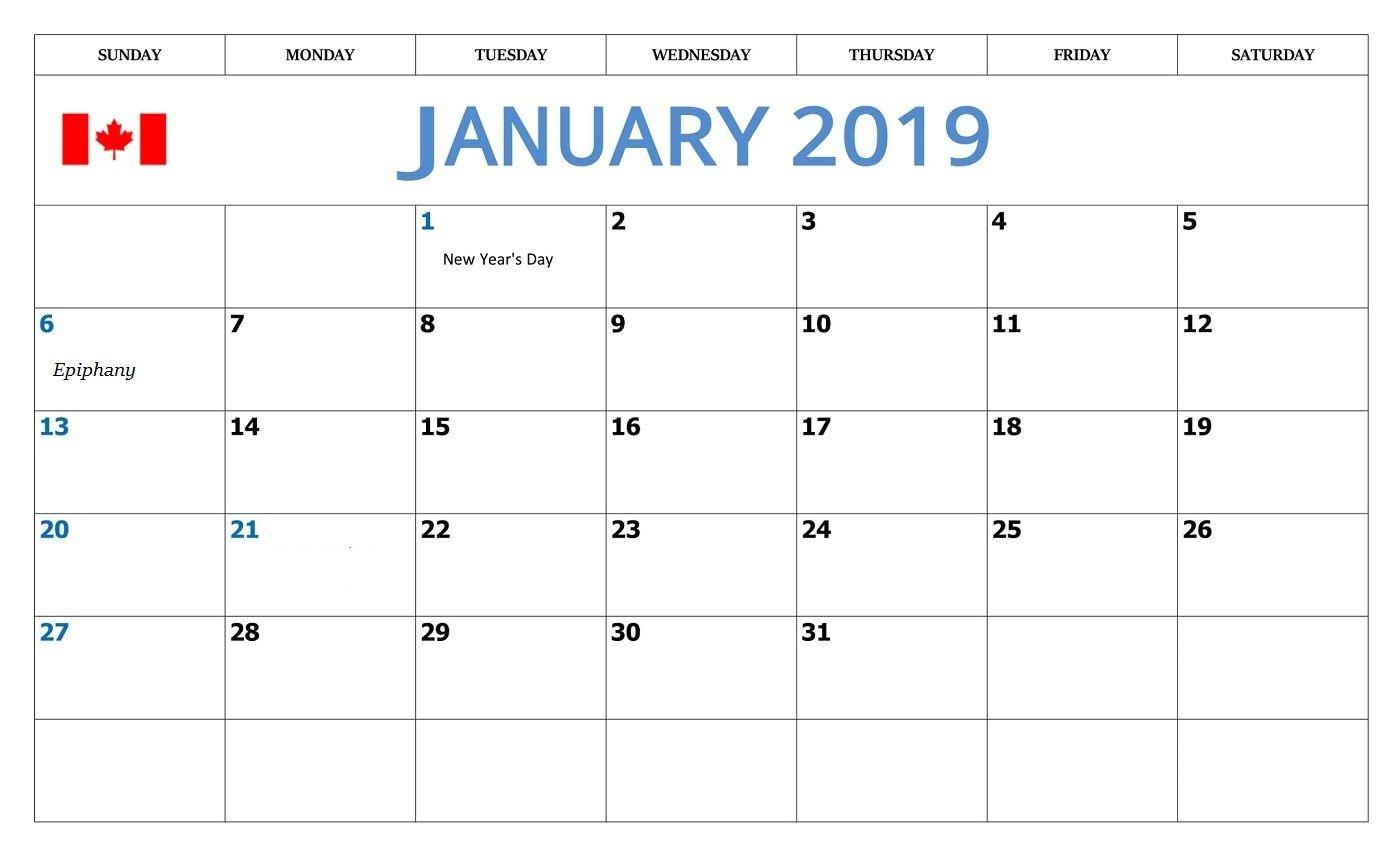 January 2019 Calendar Holidays Image