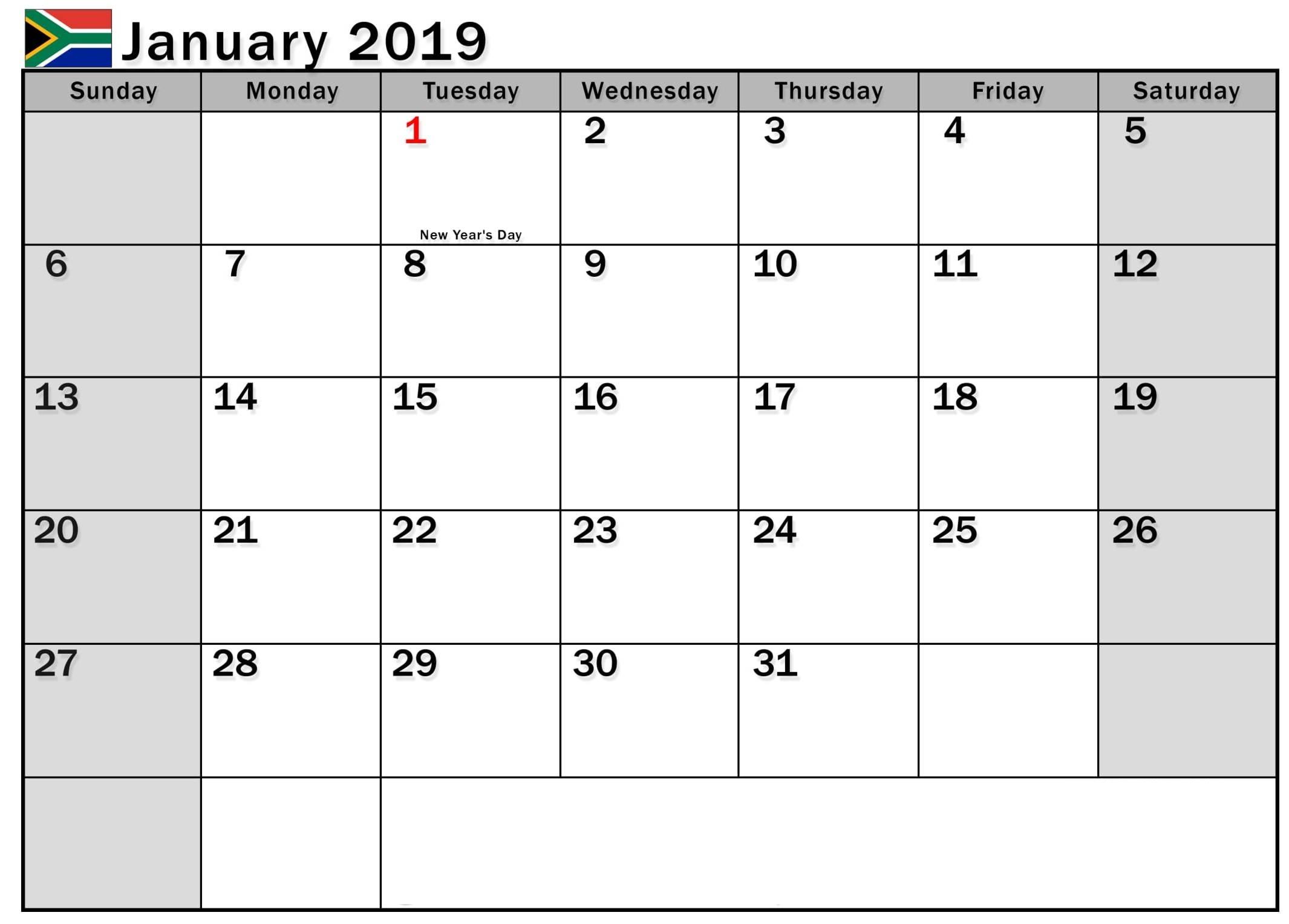 2019 Calendar South Africa