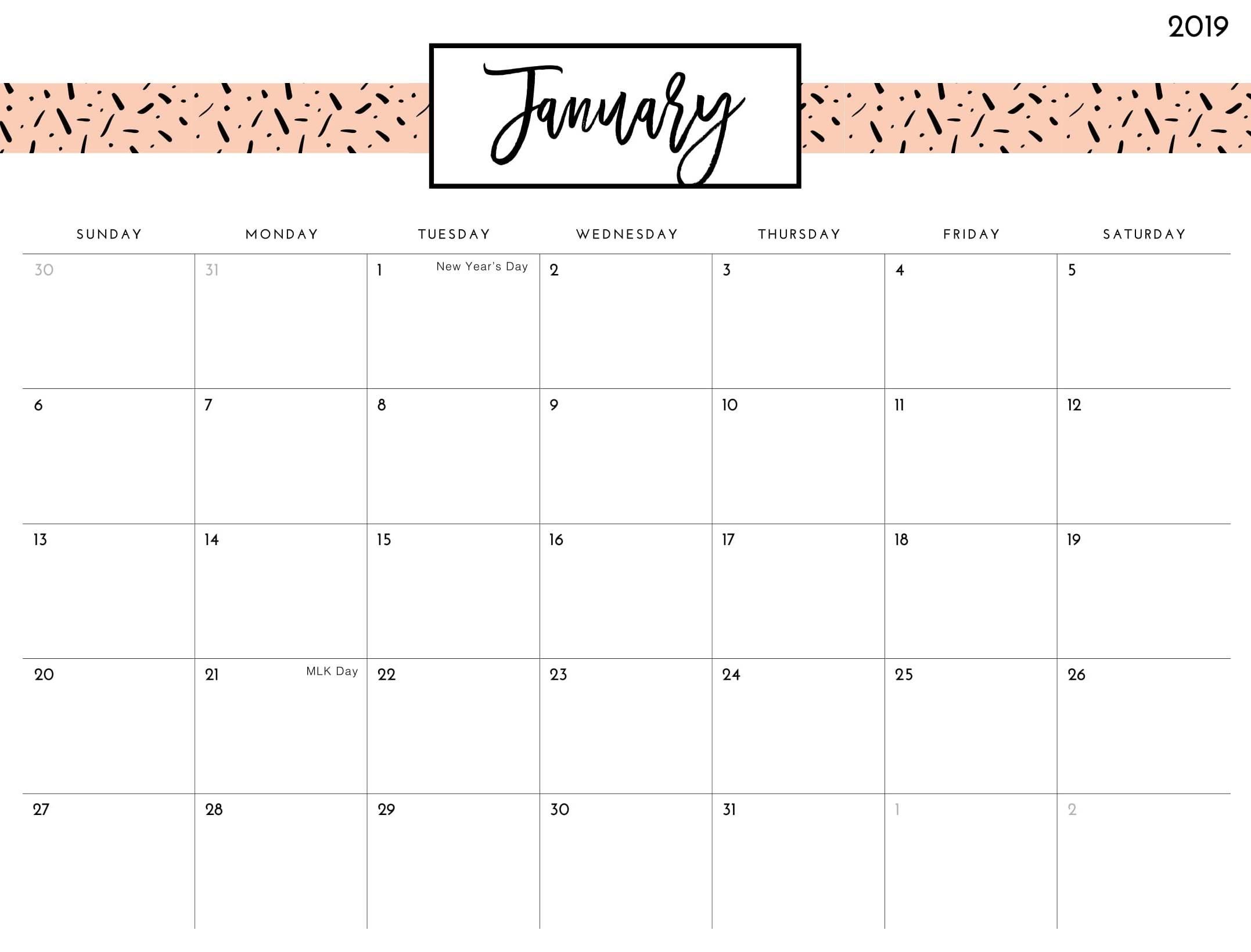 2019 January Calendar Cute