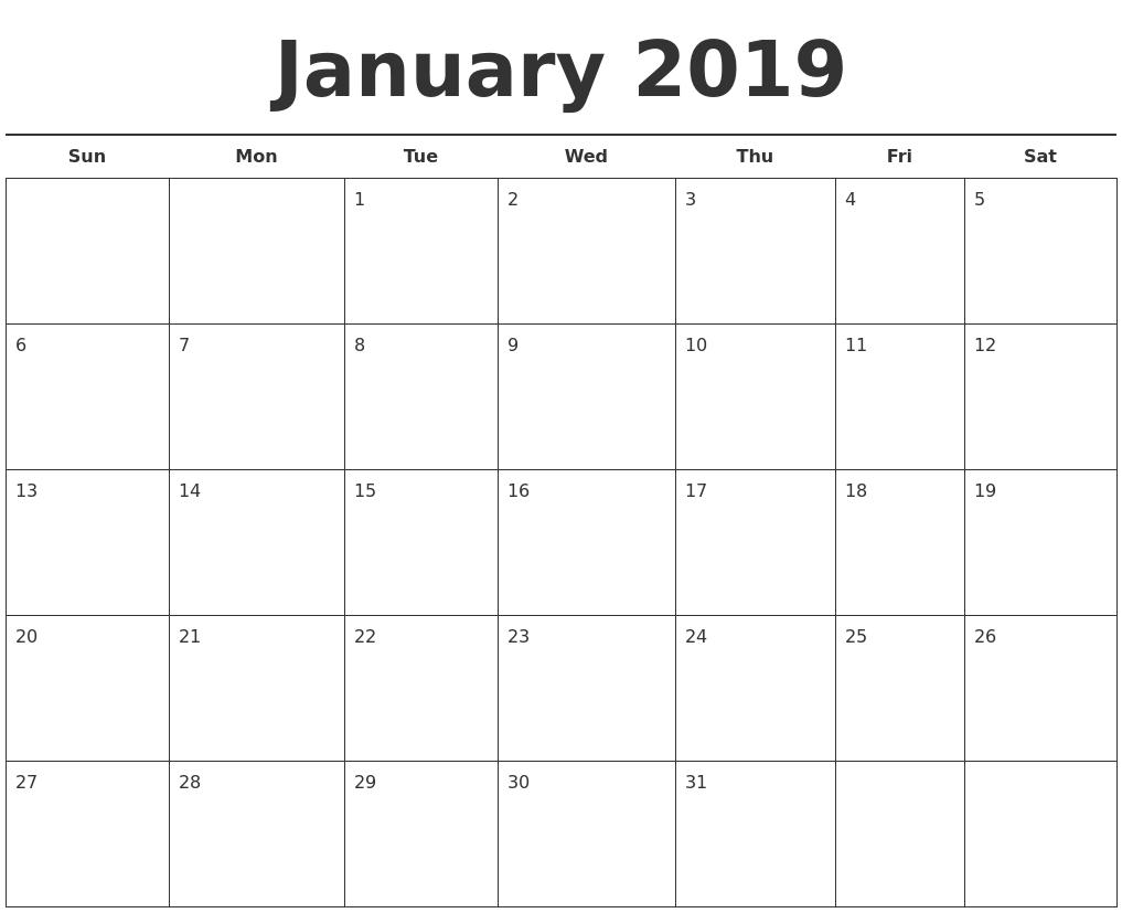 Free Calendar Template 2019