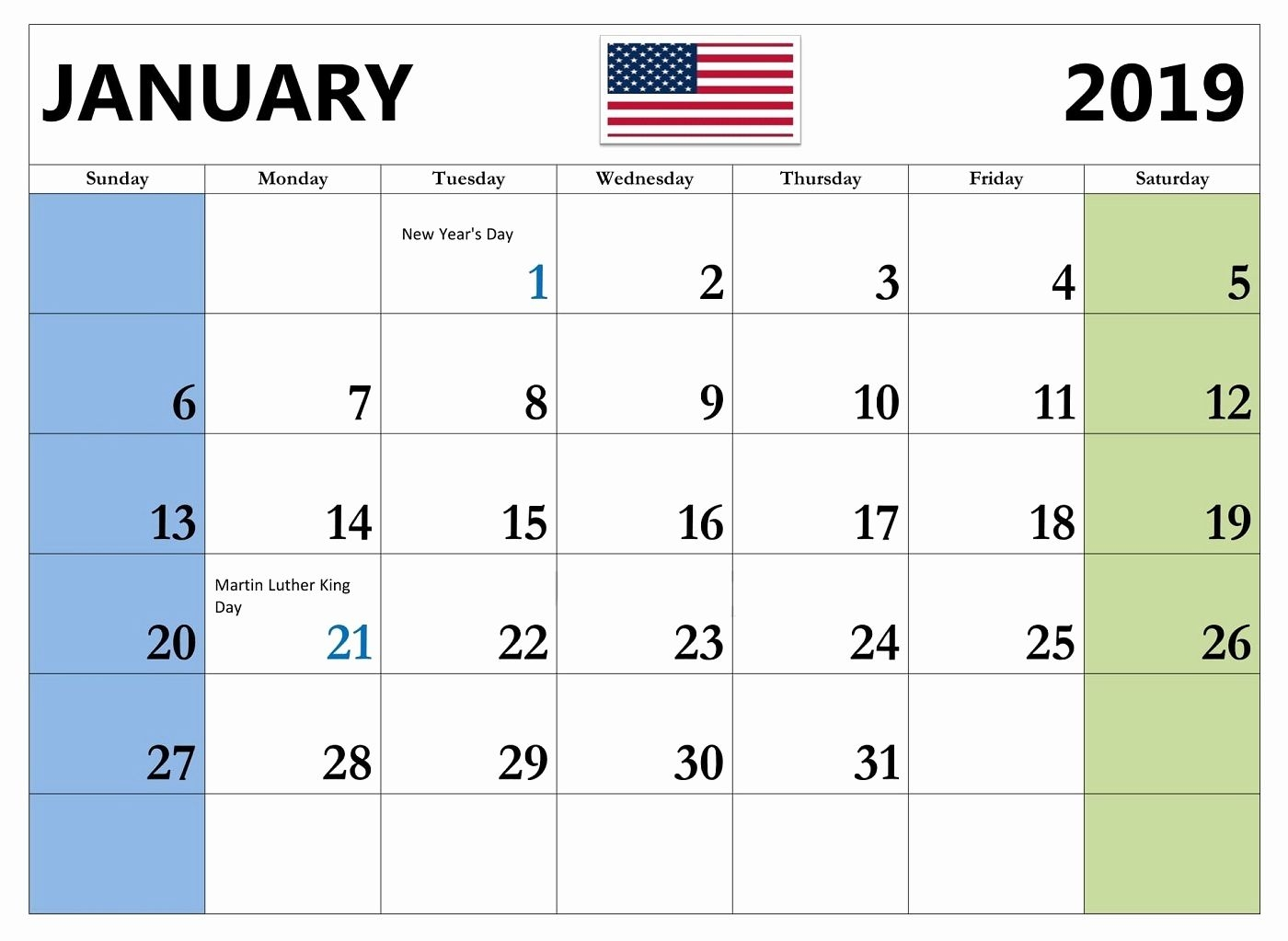 January 2019 Usa Calendar