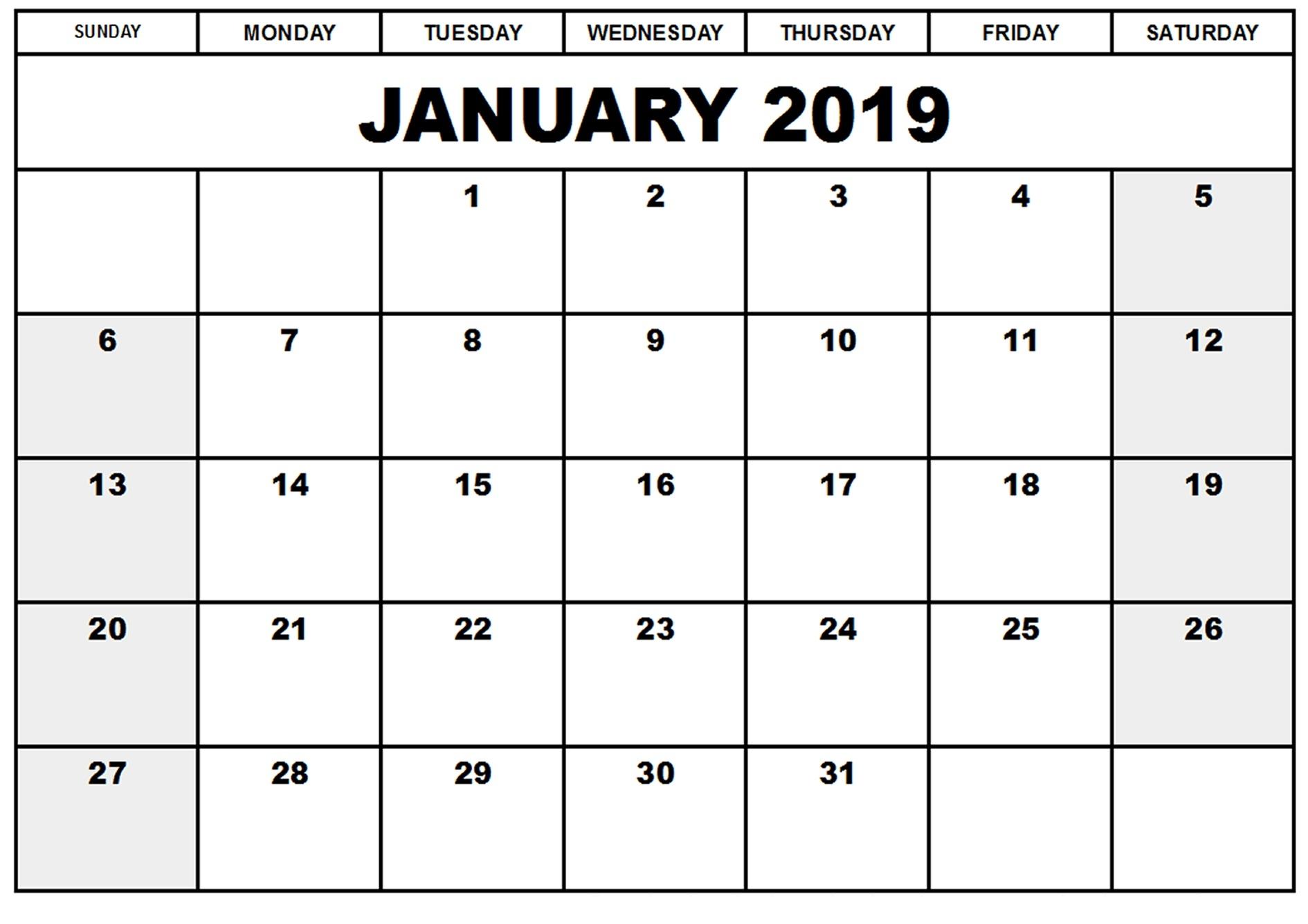 2019 January Calendar In Excel
