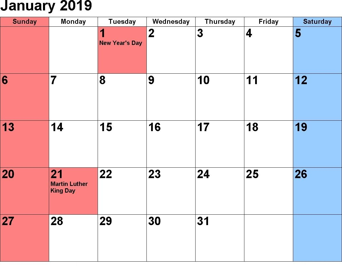 January Calendar 2019 With Holidays