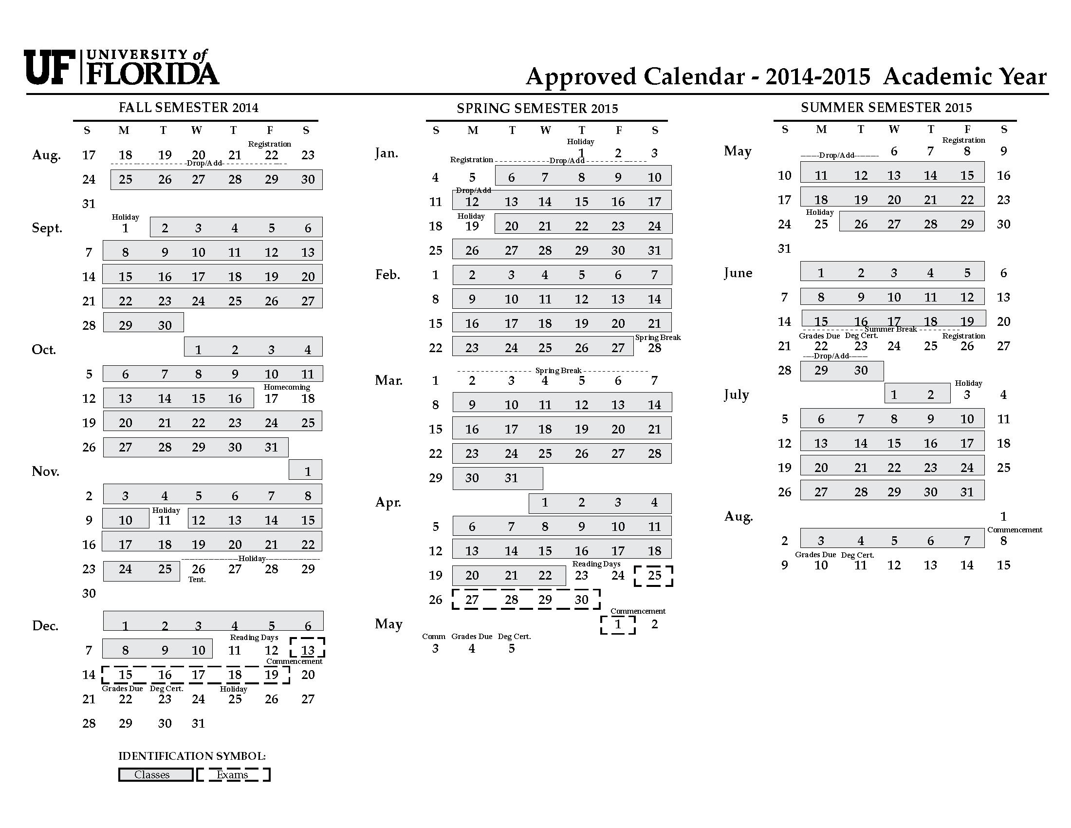 Uf Academic Calendar