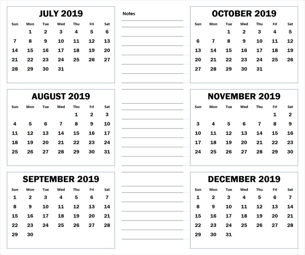 6 Months Calendar July To December 2019