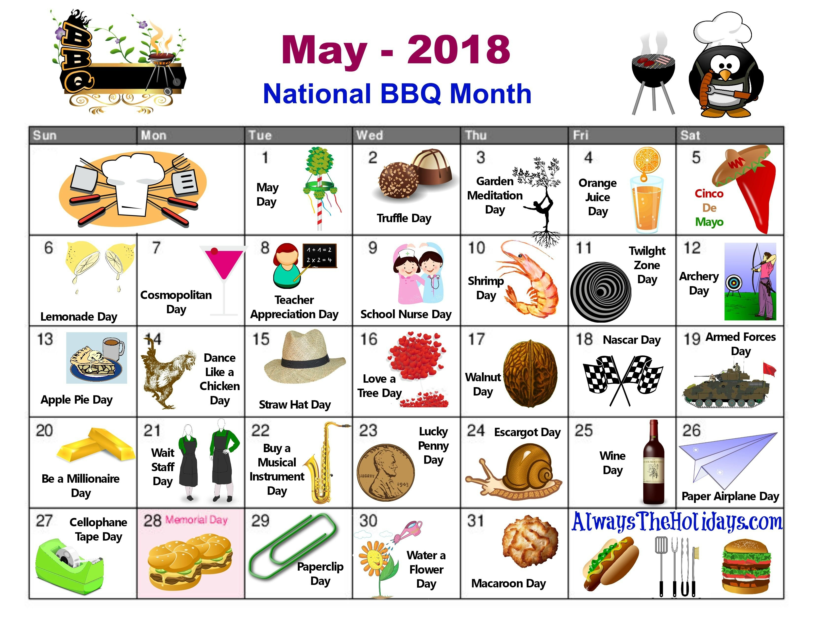 May National Day Calendar Free Printable Always The National