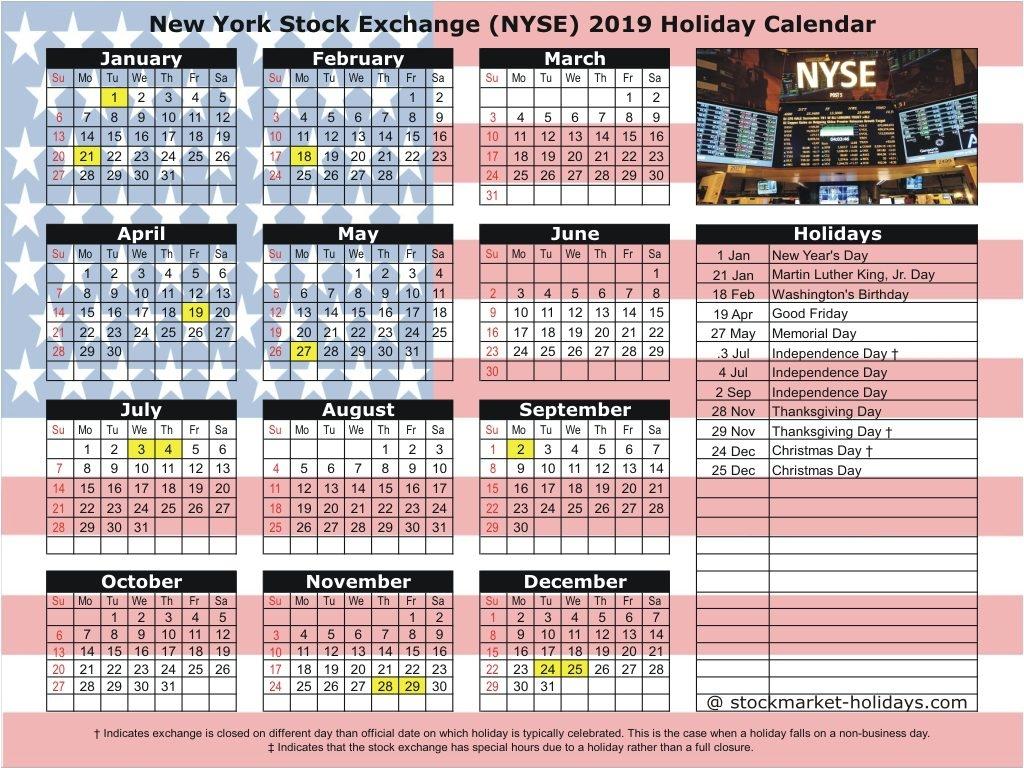 Nyse Holiday Calendar 2019