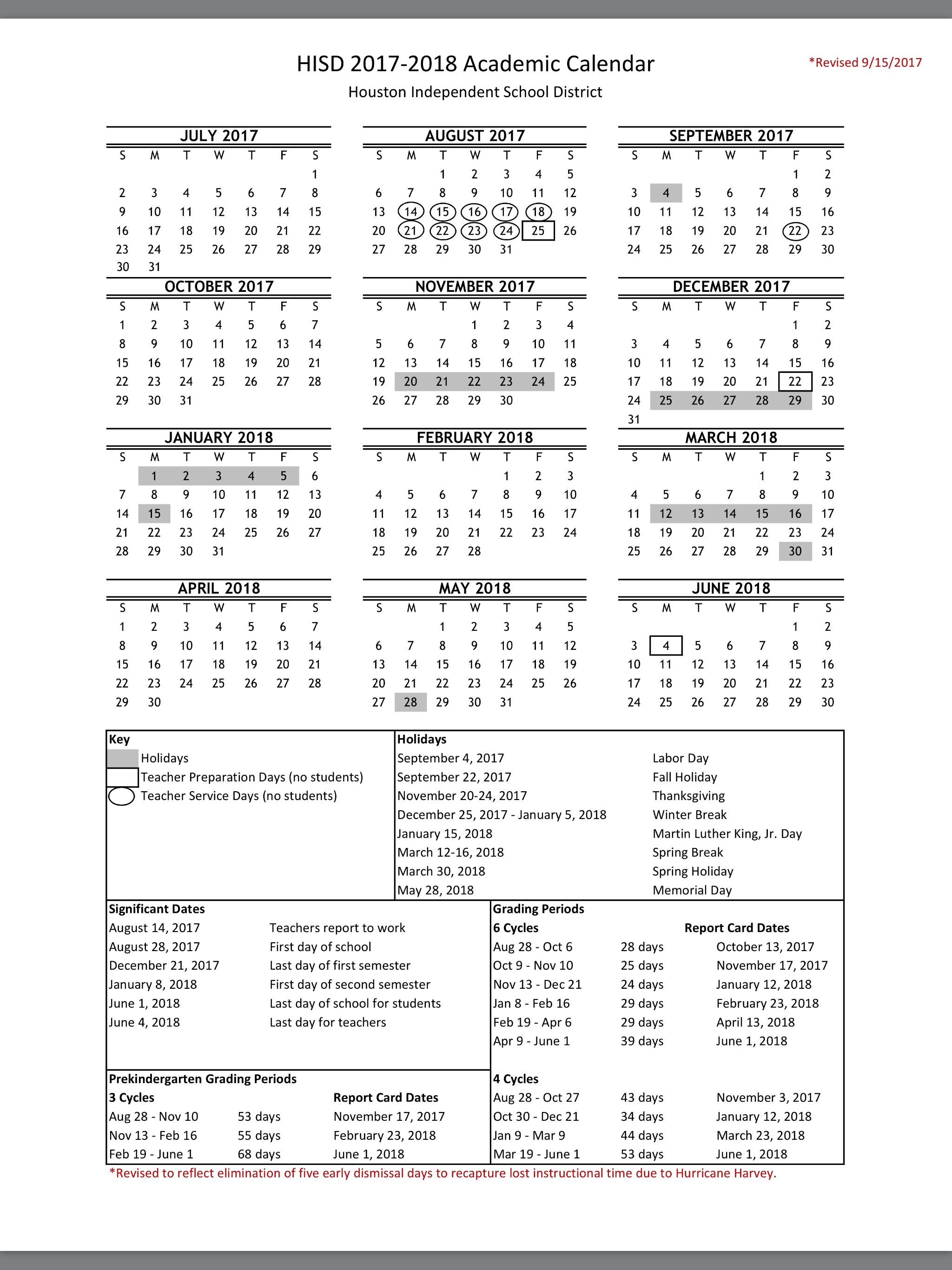 Houston Isd Calendar