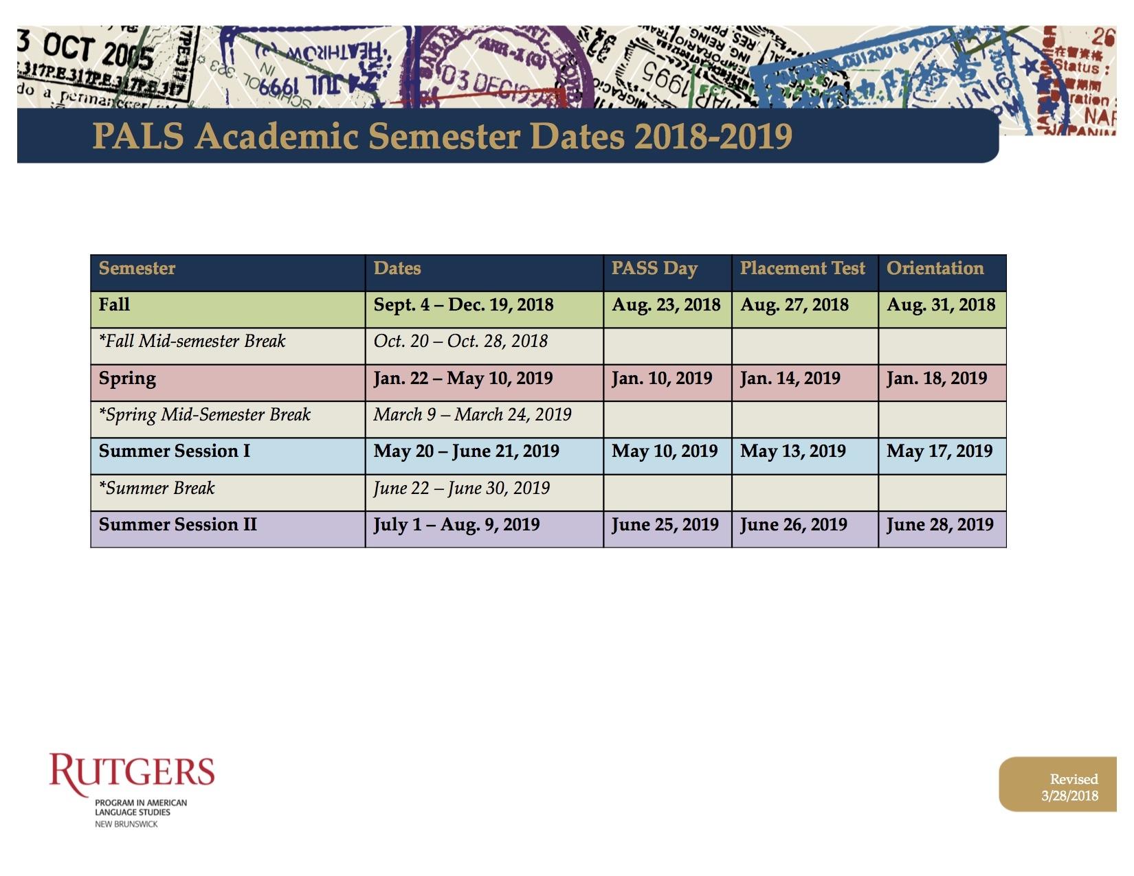 Rutgers Academic Calendar