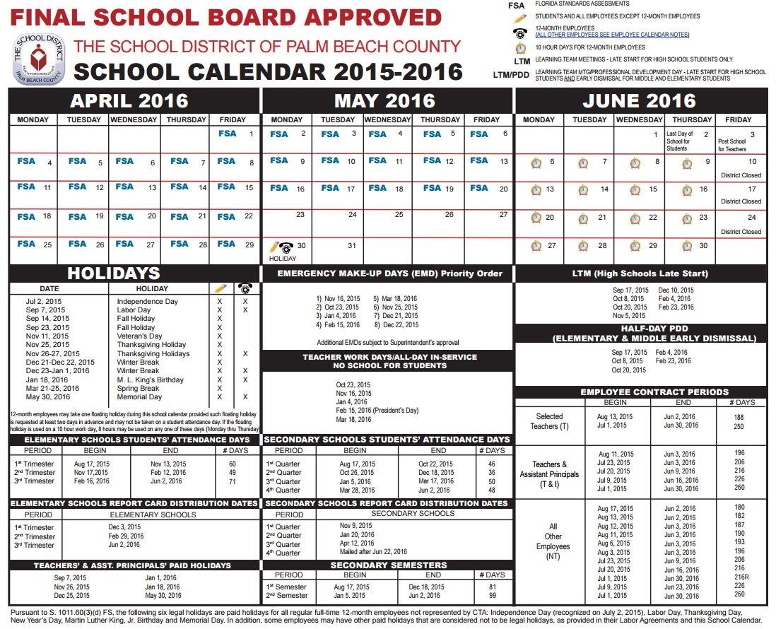 Palm Beach County School District Calendar