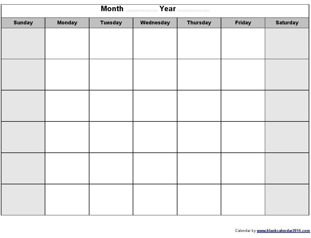 Printable Calendars Printable Monthly Blank Calendar Helpful