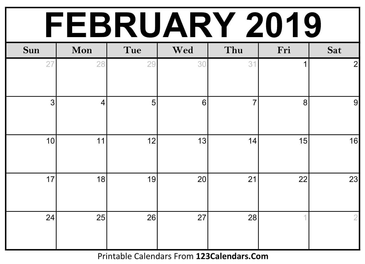 February 2019 Calendar Image
