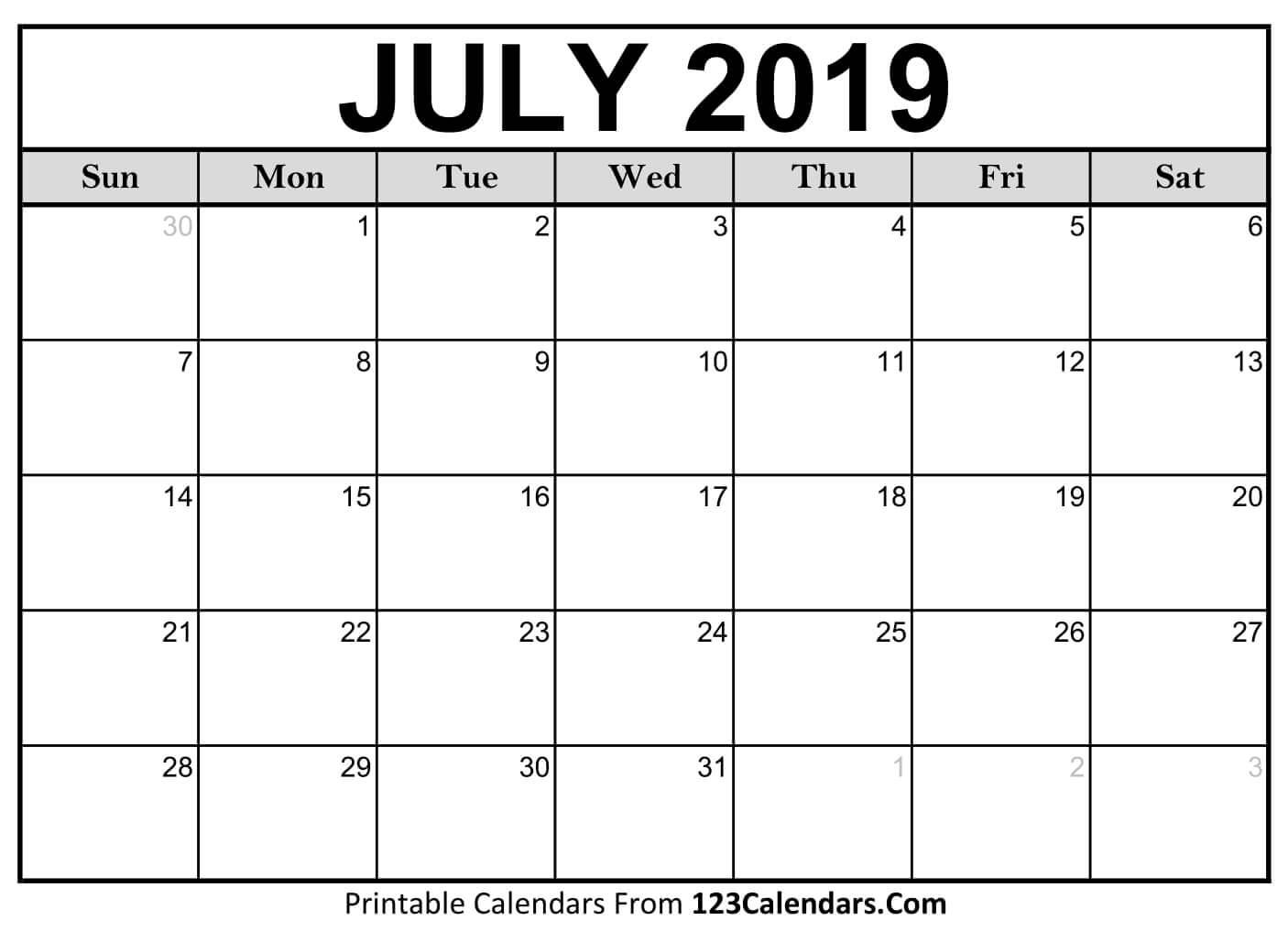 July 2019 Calendar Qualads