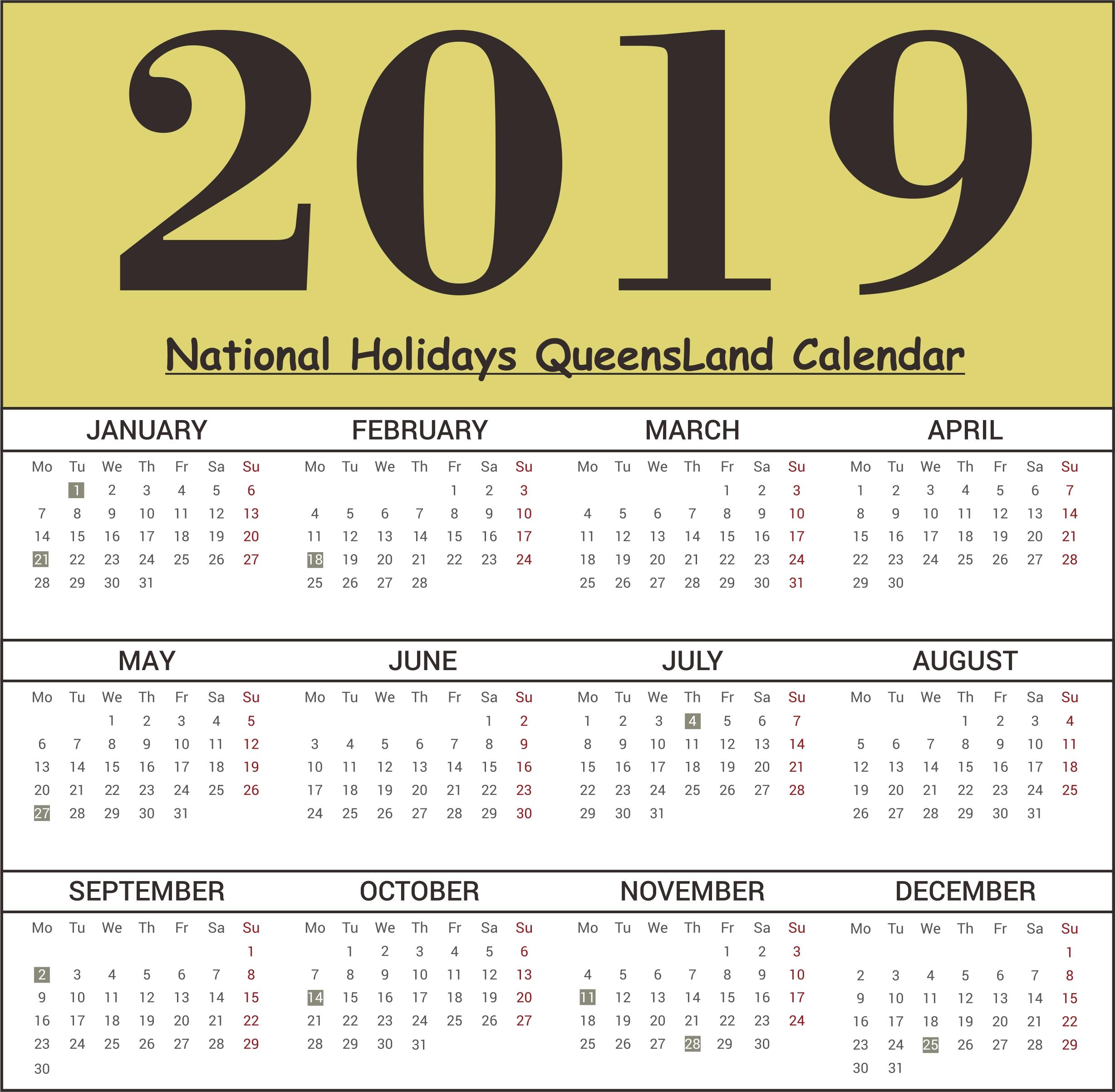 2019 Calendar Queensland Public Holidays