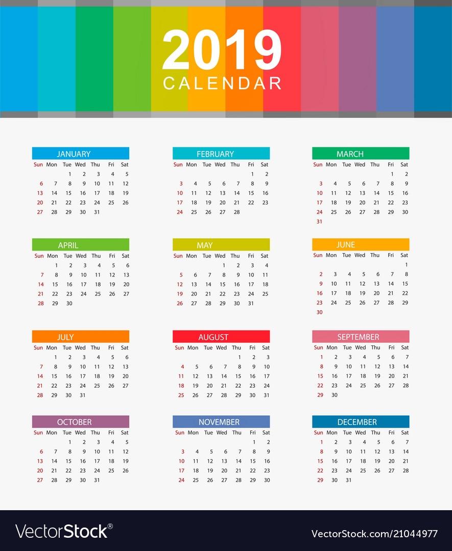 Calendar 2019 Layout