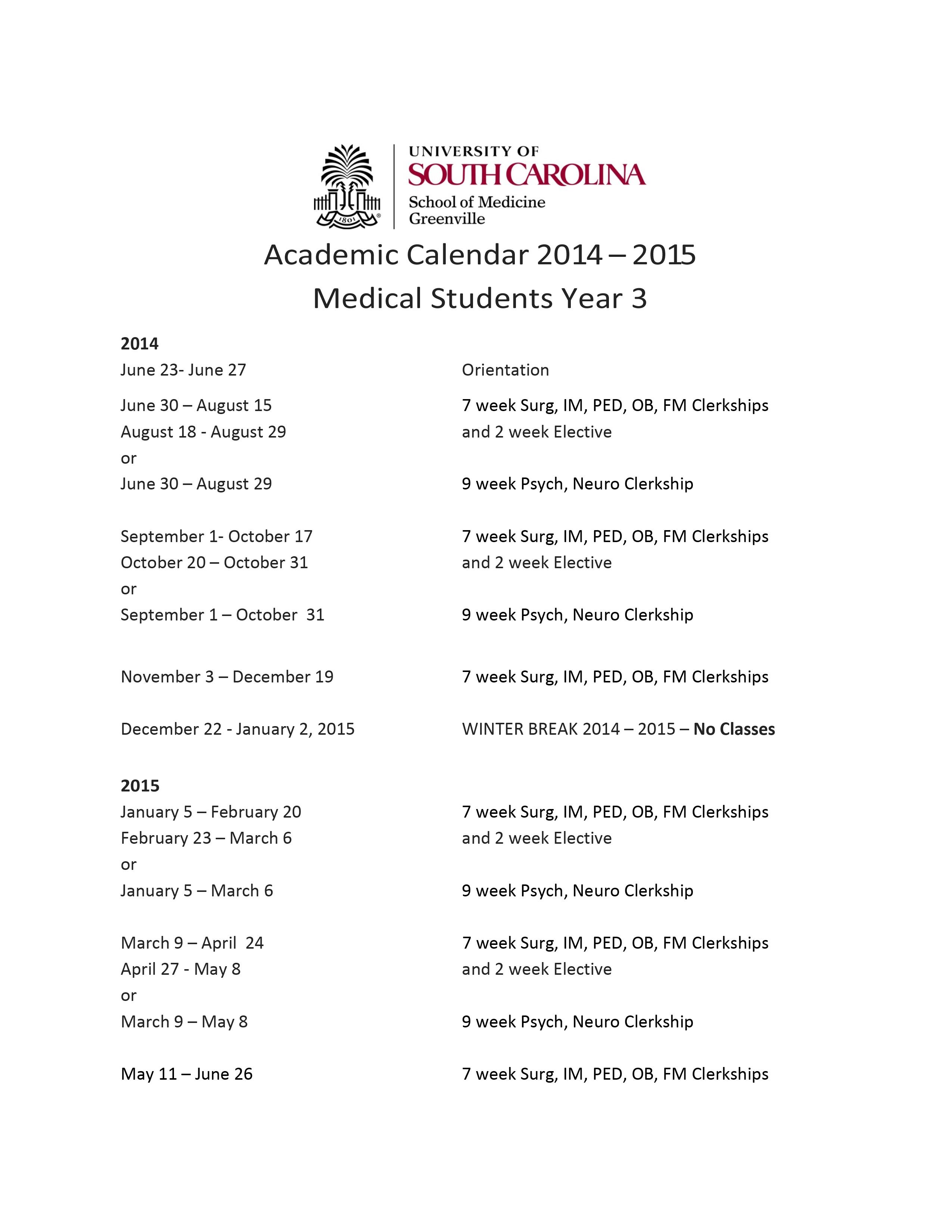 South University Calendar 2018 Bazga