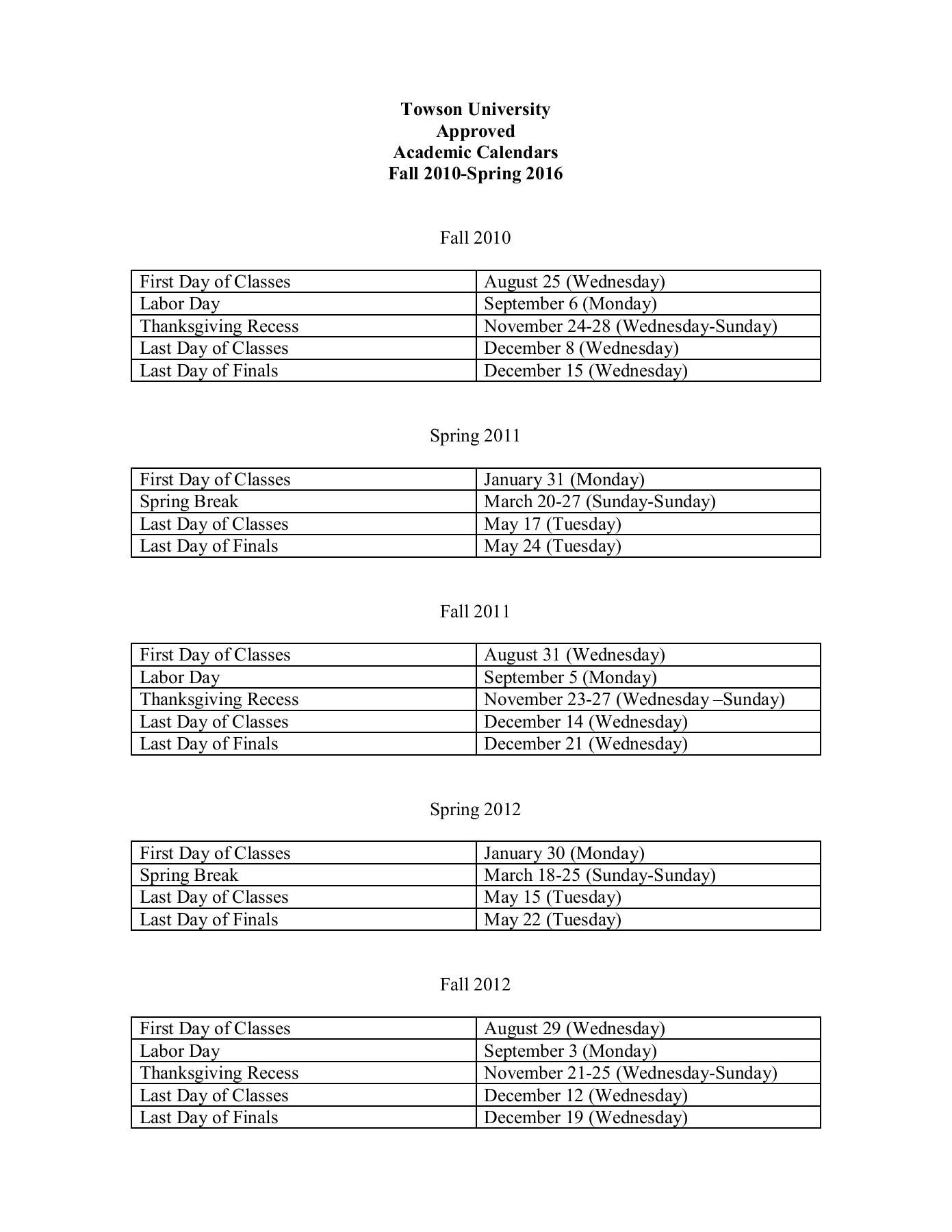 Towson Academic Calendar