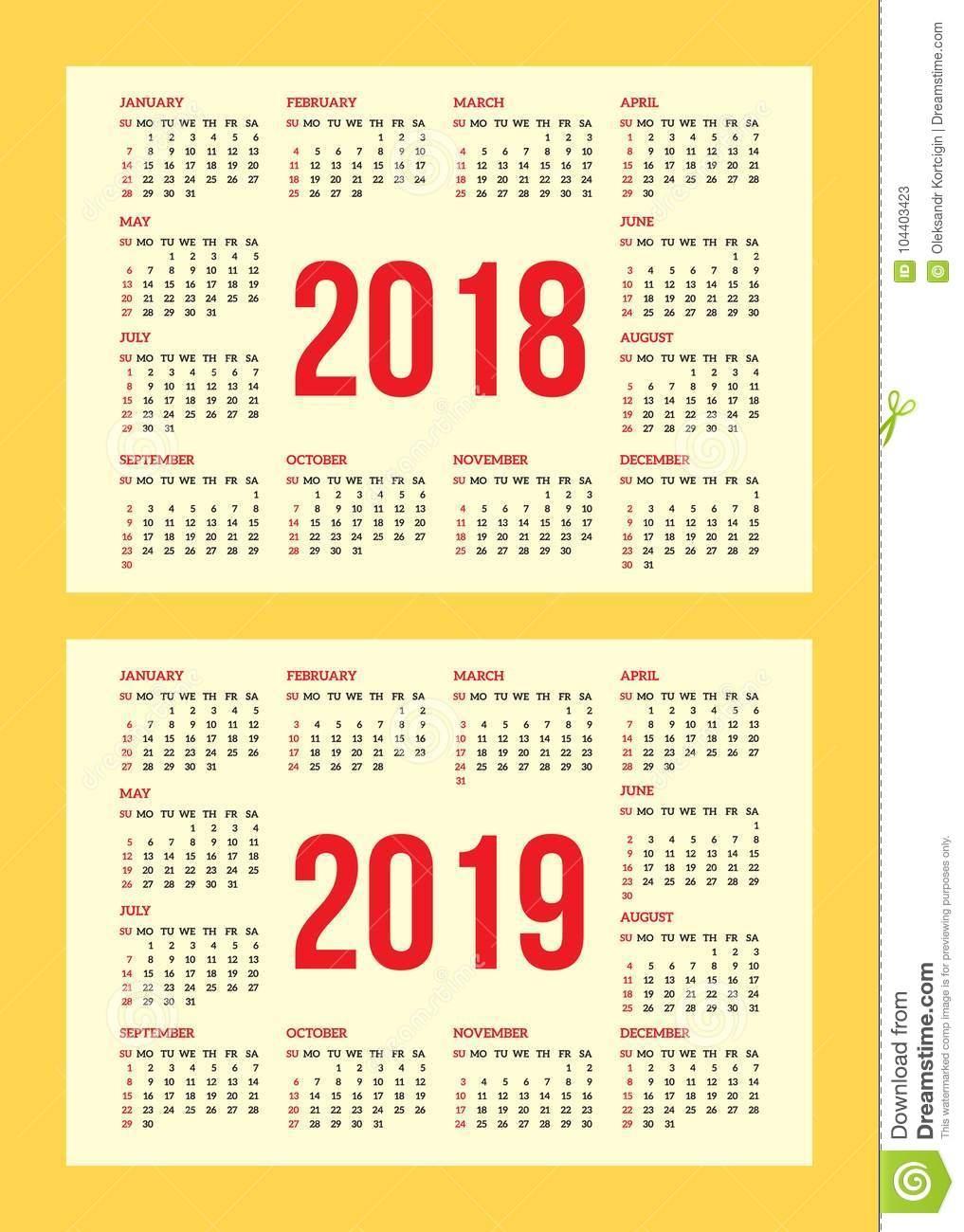 2019 Calendar Business Card