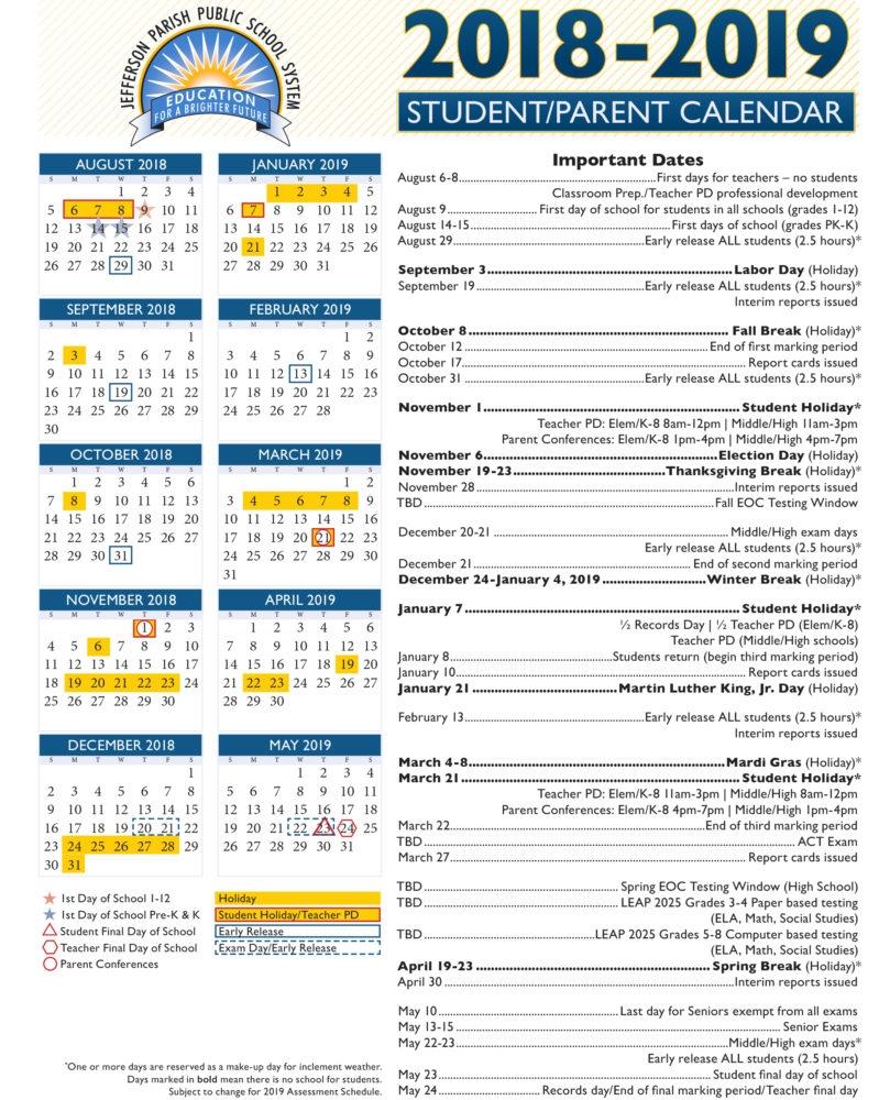 Public School Calendar 2019
