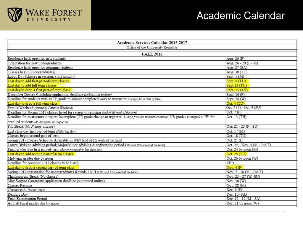 Wfu Academic Calendar