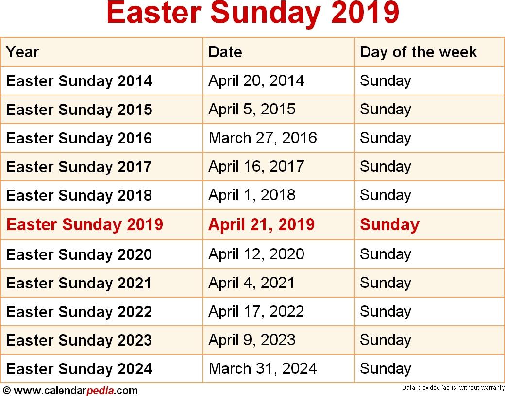 2019 Calendar Easter