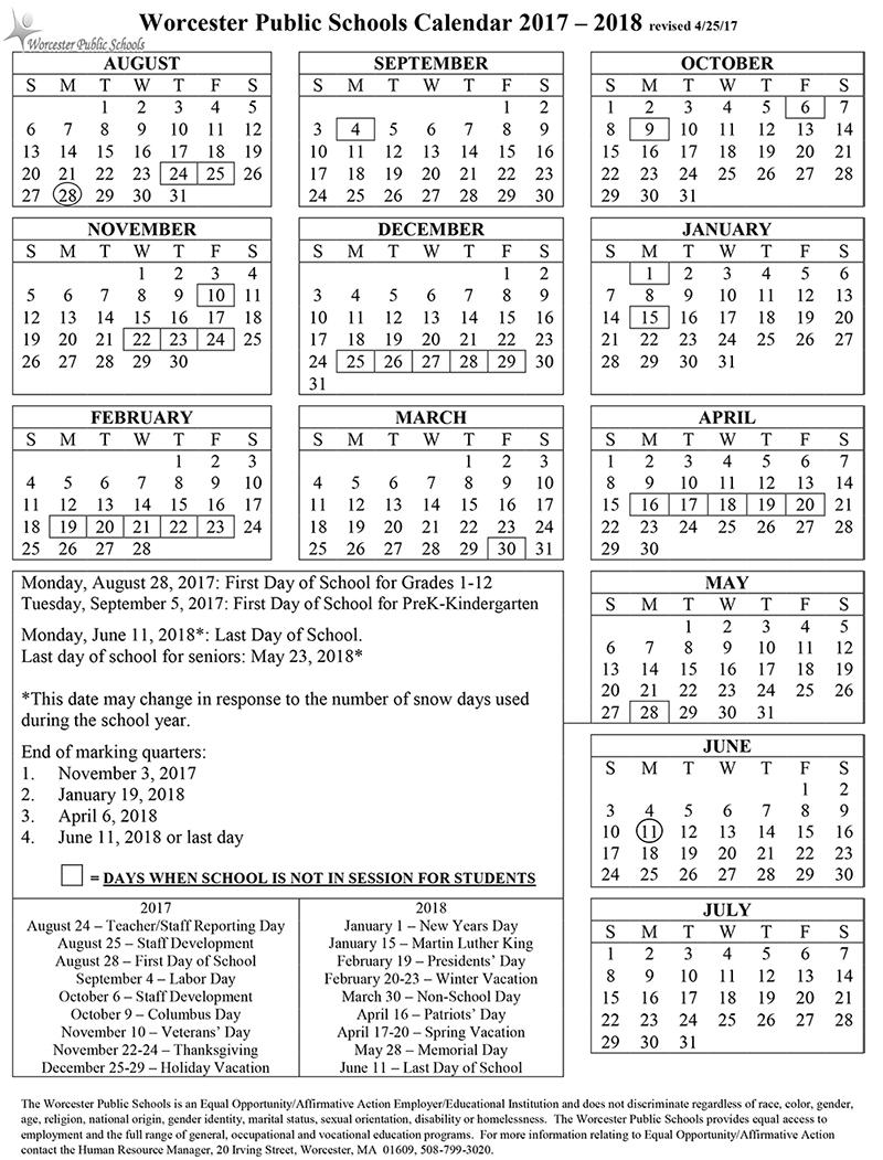 Worcester Public School Calendar 2017 2018 2019 Calendar Printable