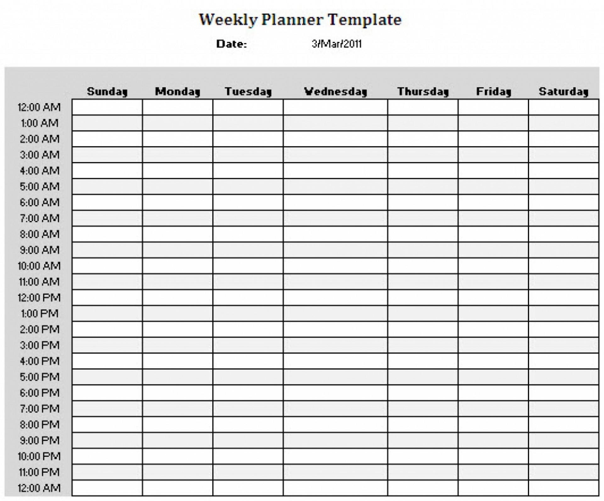 24 Hour Calendar Printable Free