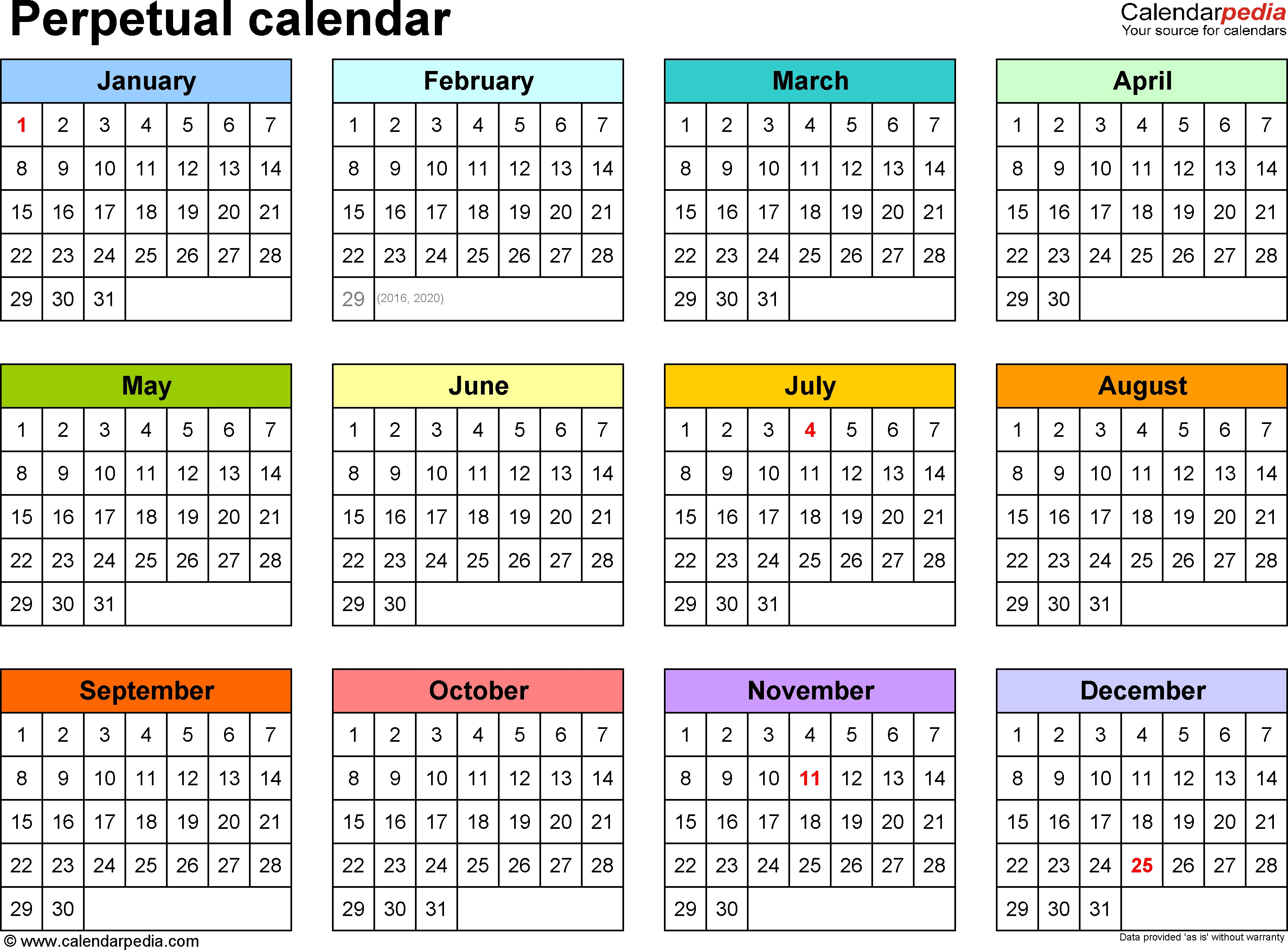 One Year Calendar Printable