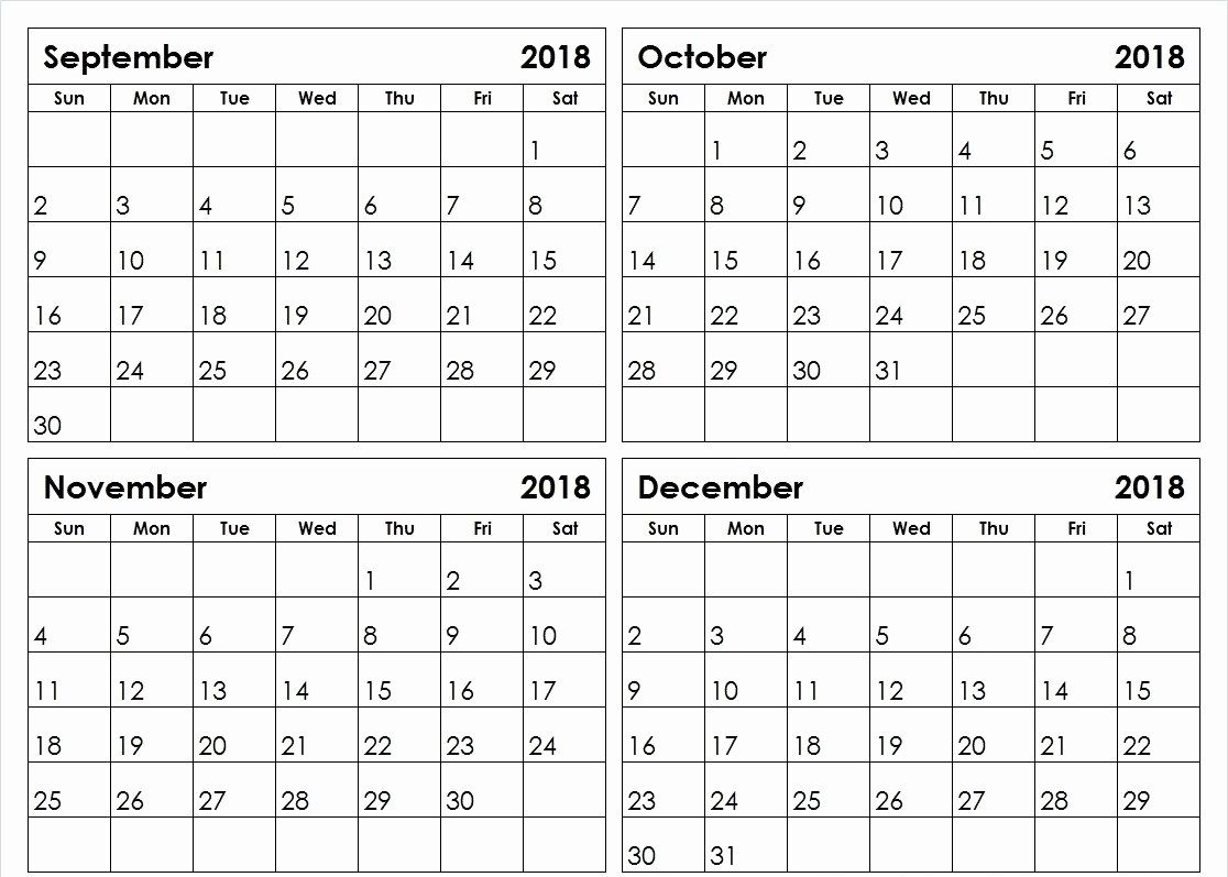 2018 4 Month Calendar Printable Monthly Calendar Pinterest
