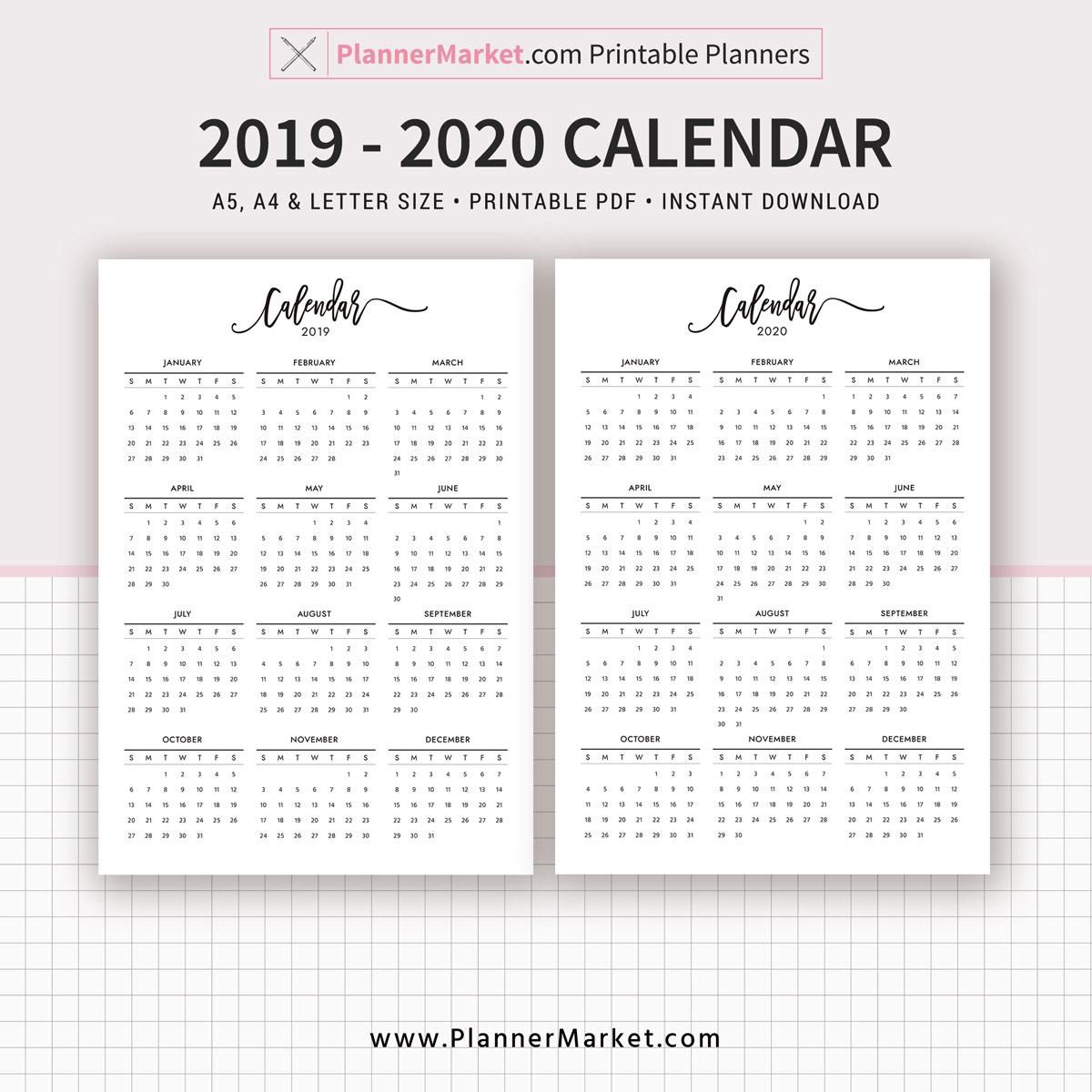 A5 Printable Calendar 2019