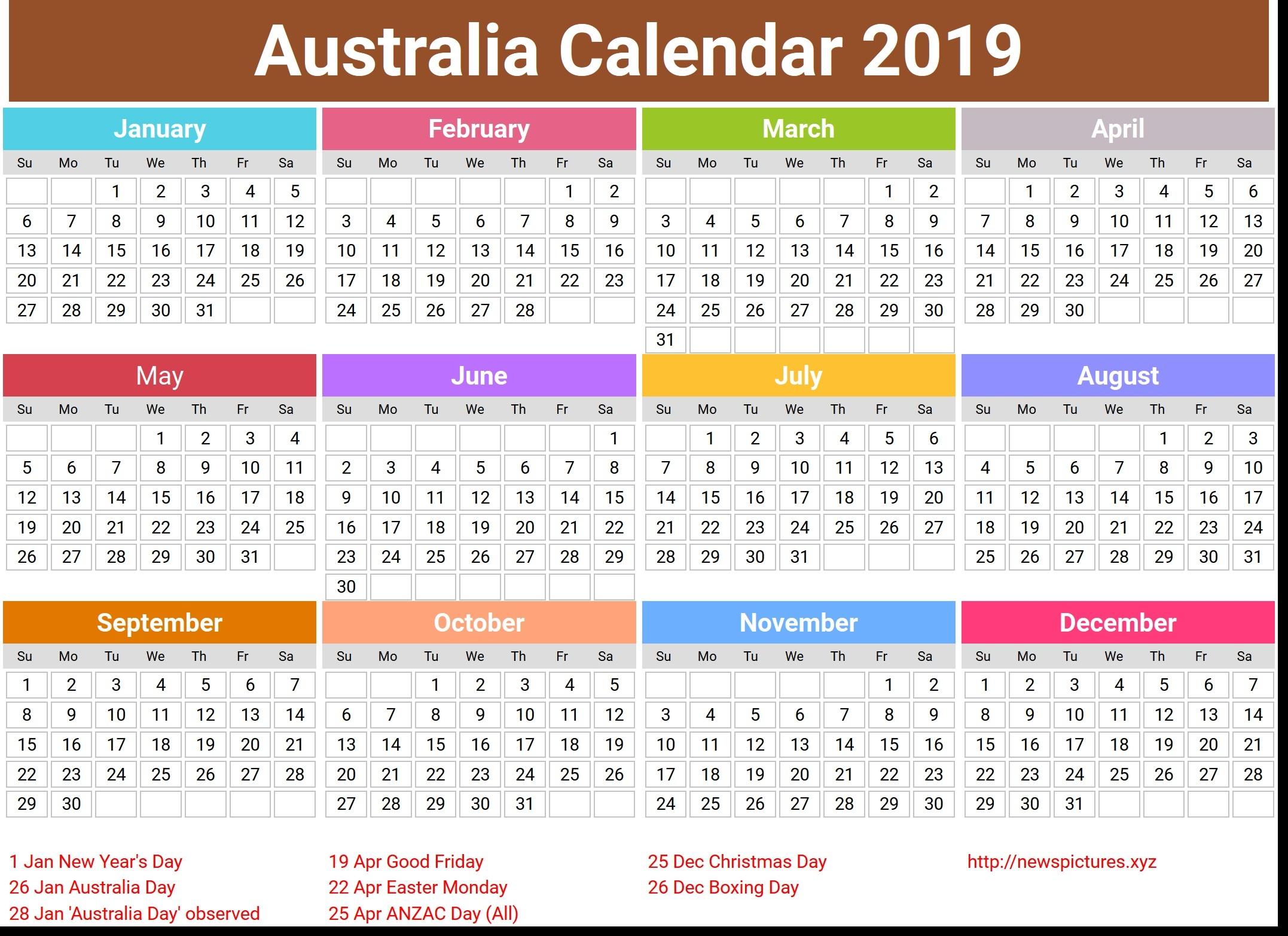 2019 And 2019 Calendar Printable Australia