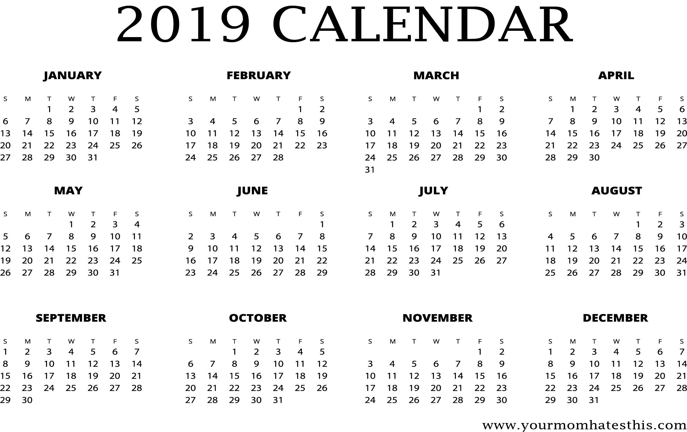 2019 Calendar Design Png