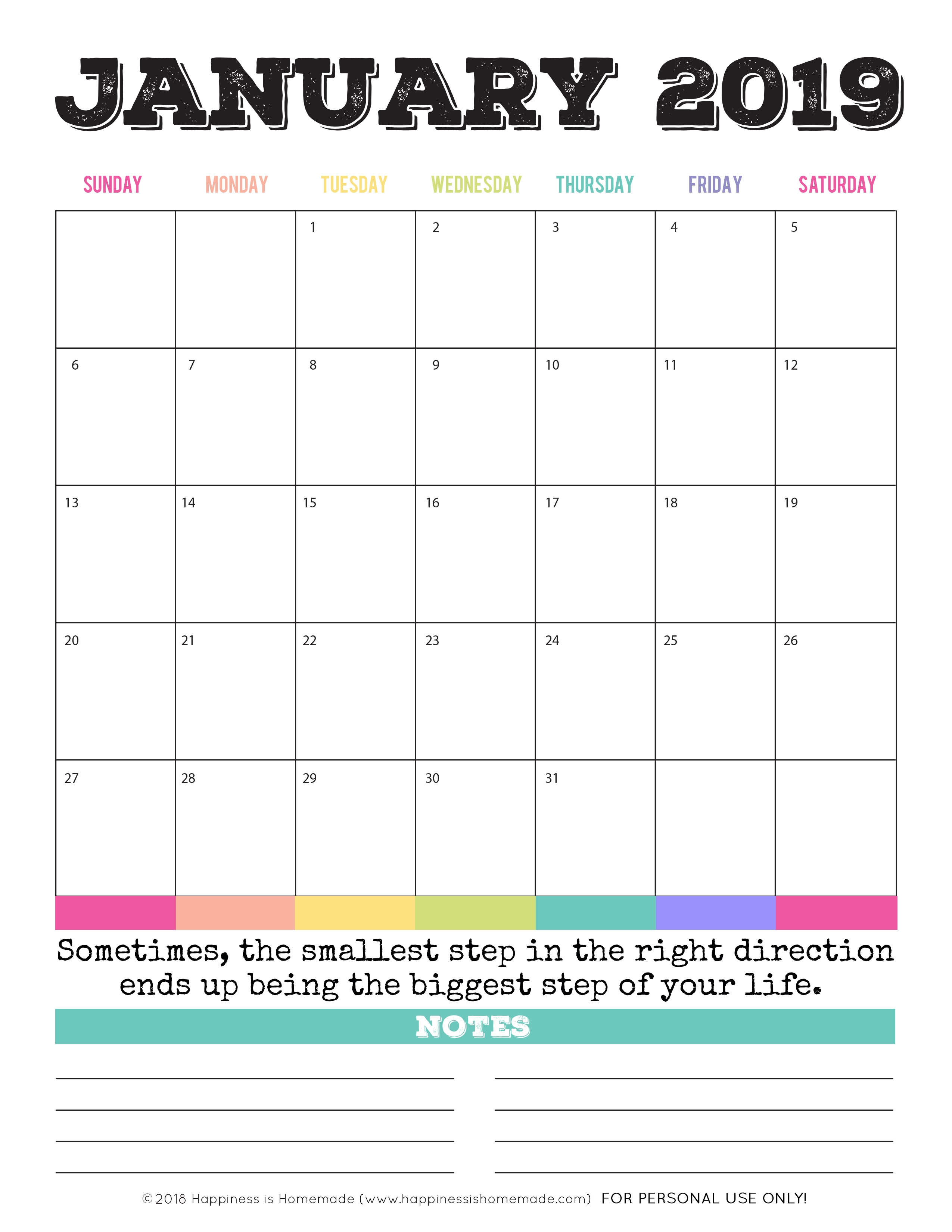 2019 Monthly Calendar Printable Pdf