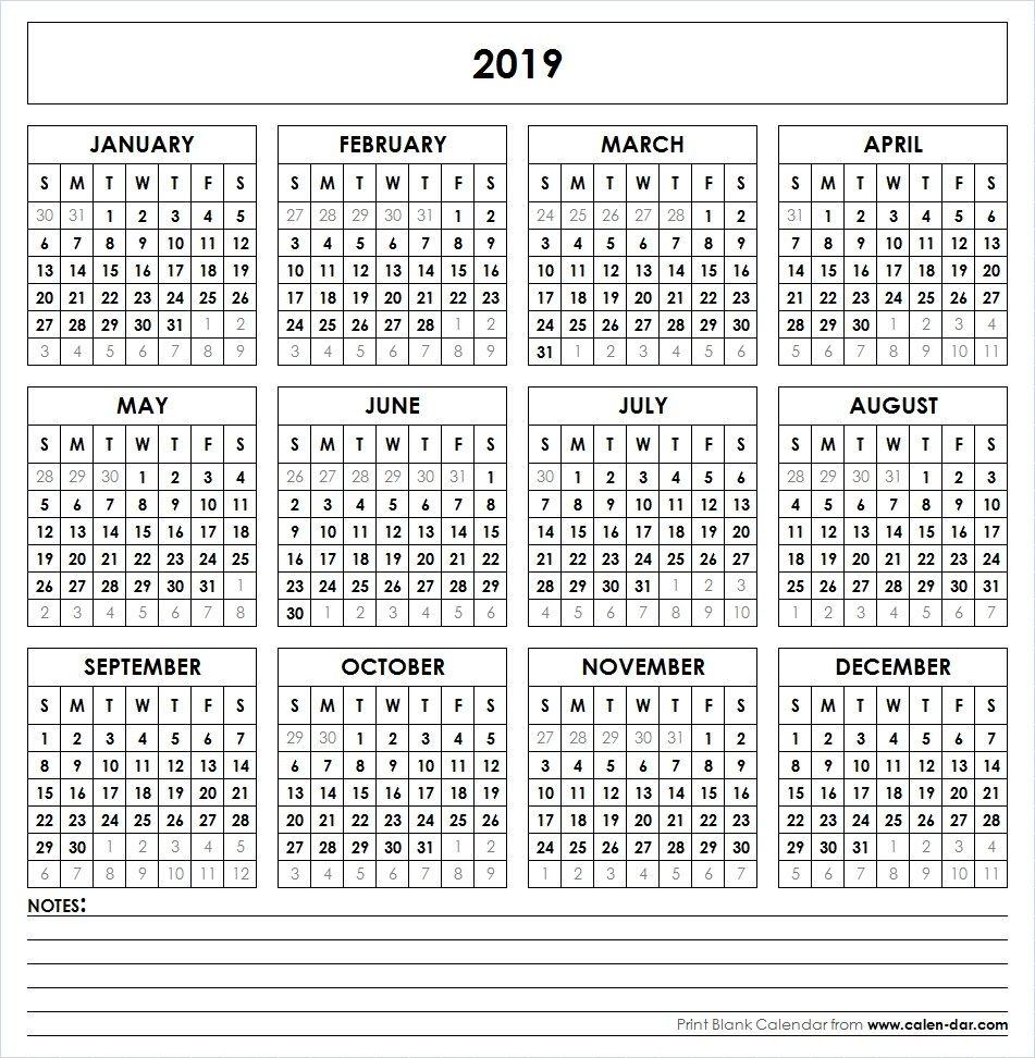 Small Printable 2019 Calendar