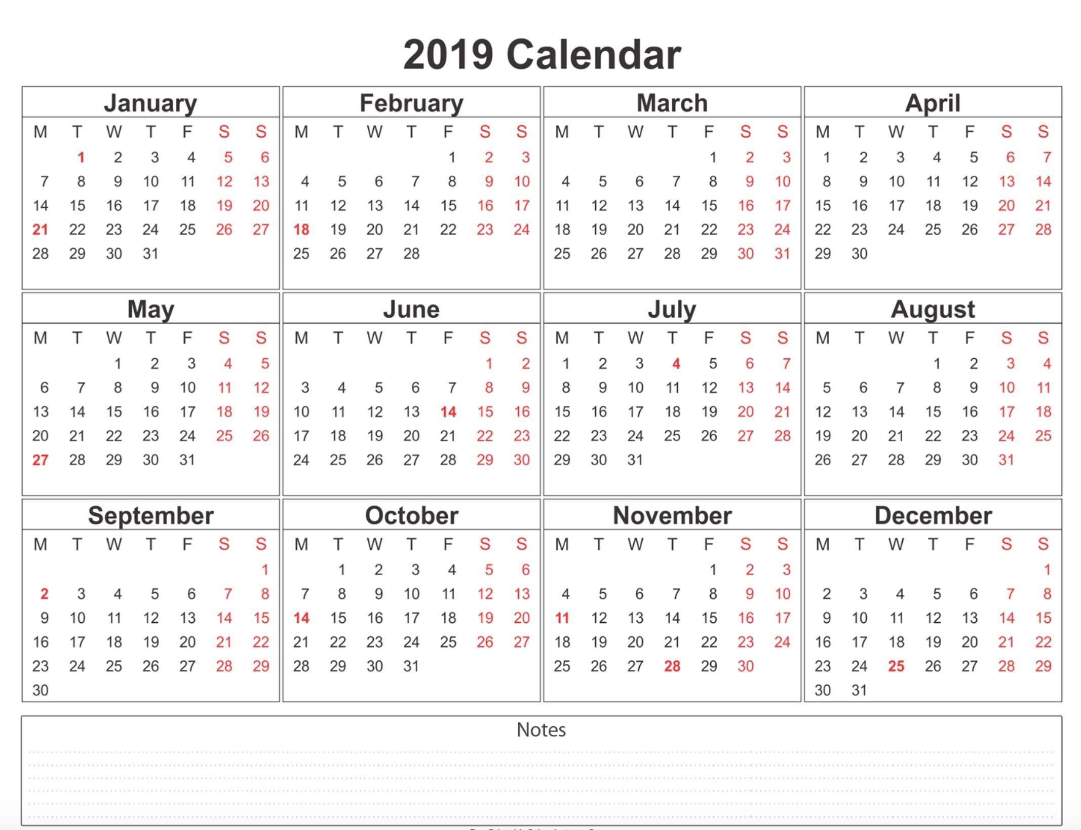 2019 calendar with bank holidays printable