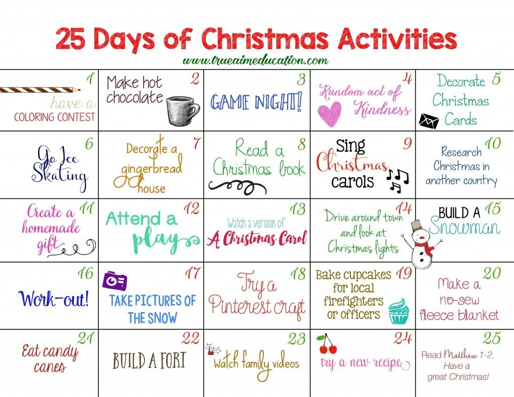 Printable Advent Calendar For Kids