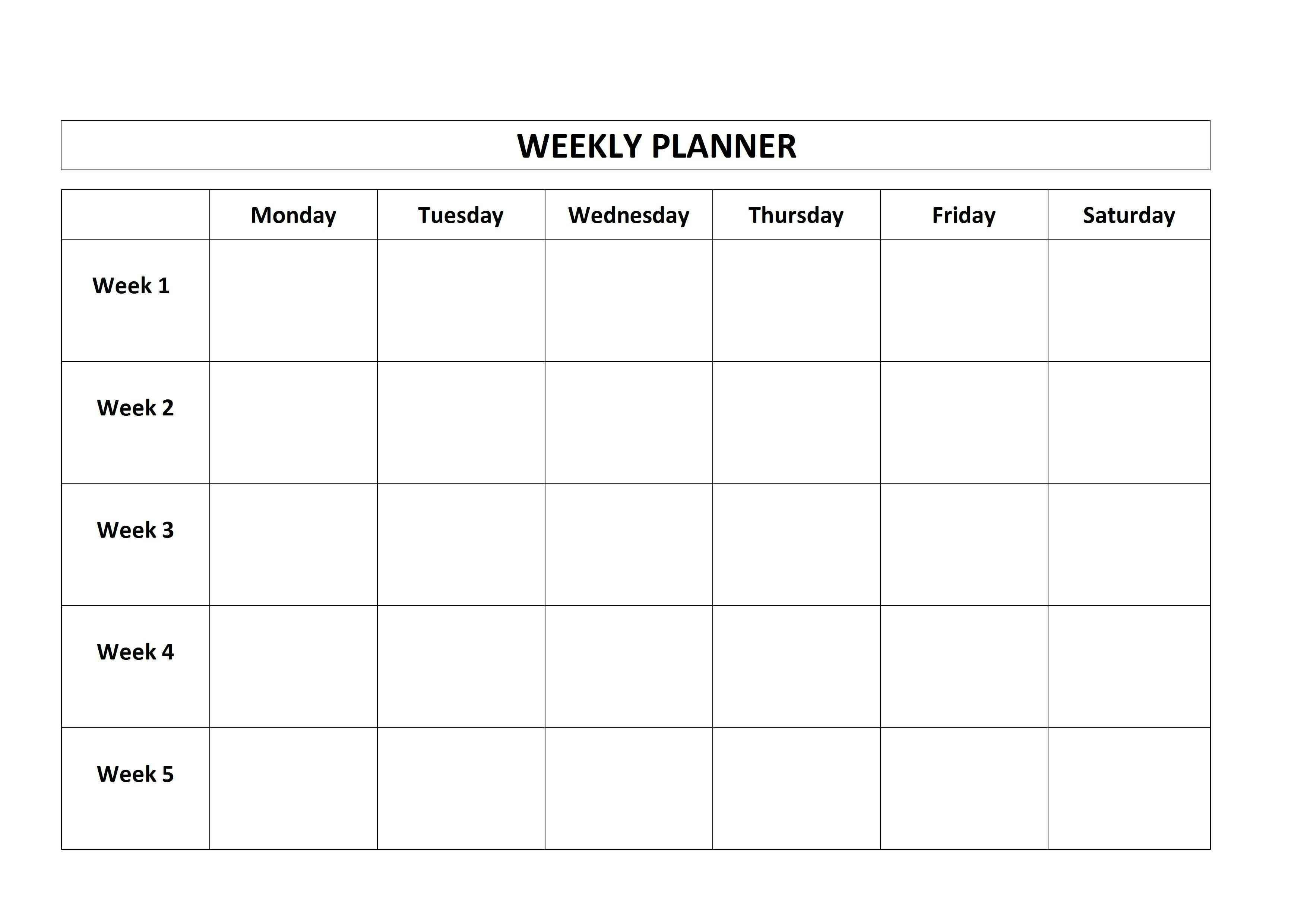 Printable 5 Day Calendar