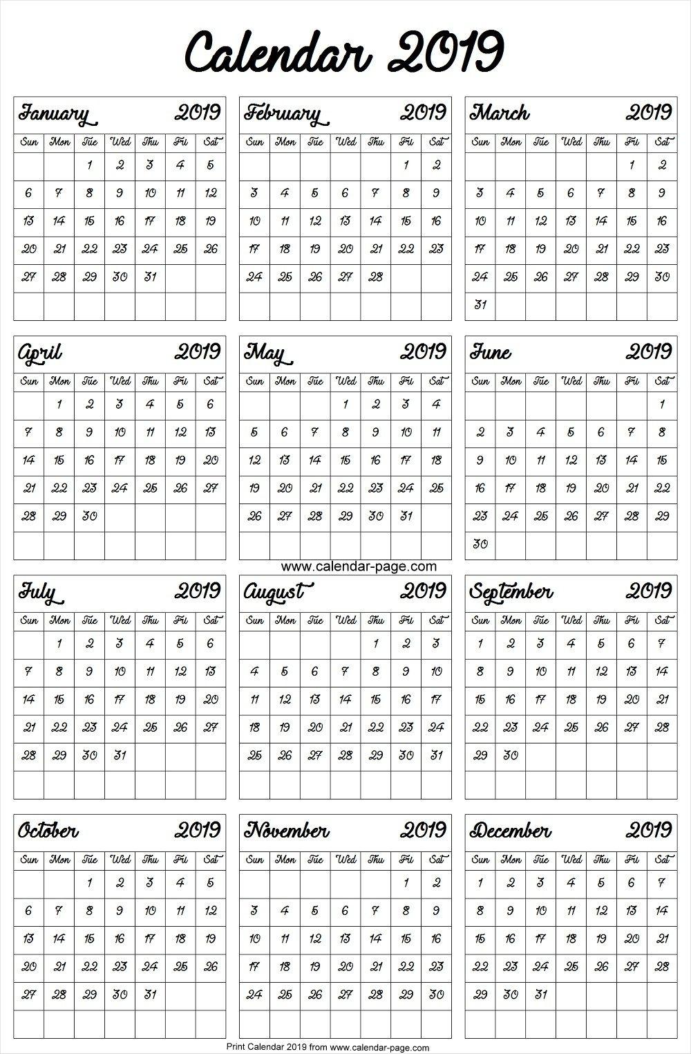 2019 Calendar A4